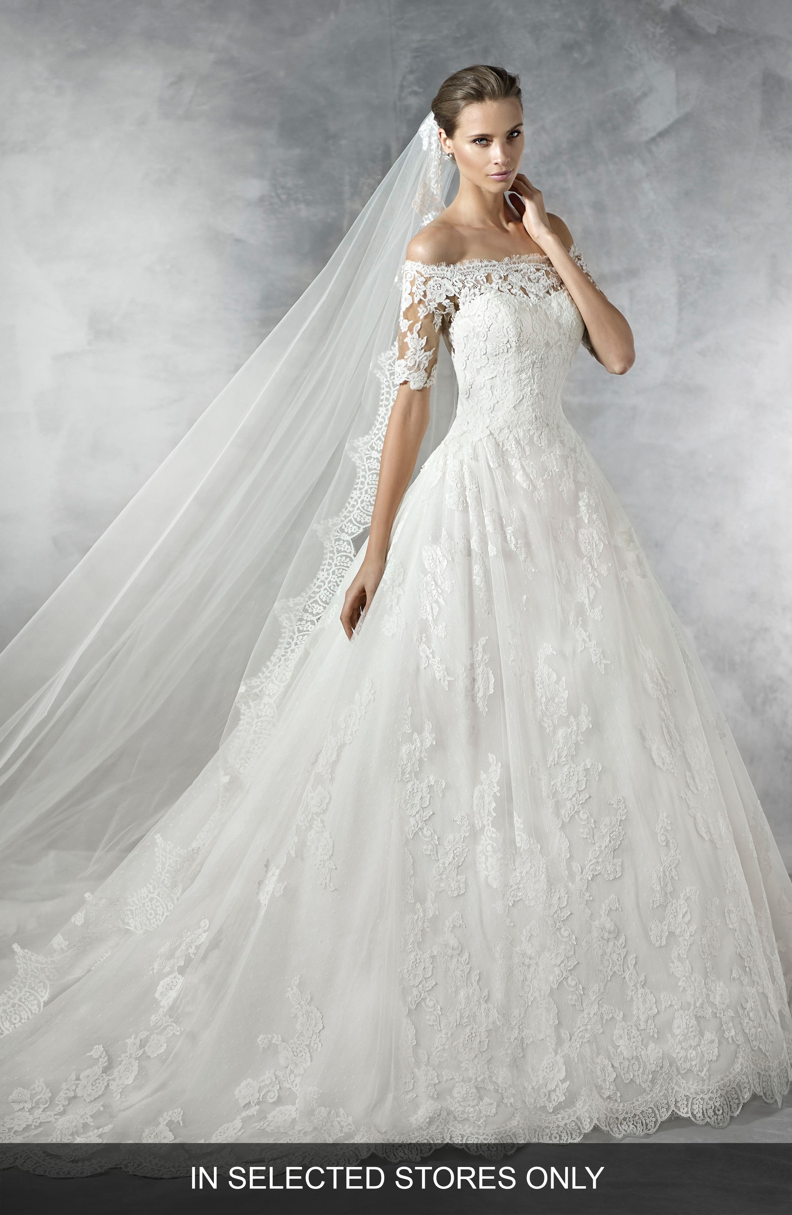 Pleasant Off the Shoulder Tulle & Lace Ballgown,                         Main,                         color, Off White