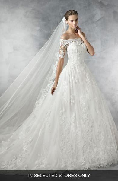 Main Image - Pronovias Pleasant Off the Shoulder Tulle & Lace Ballgown