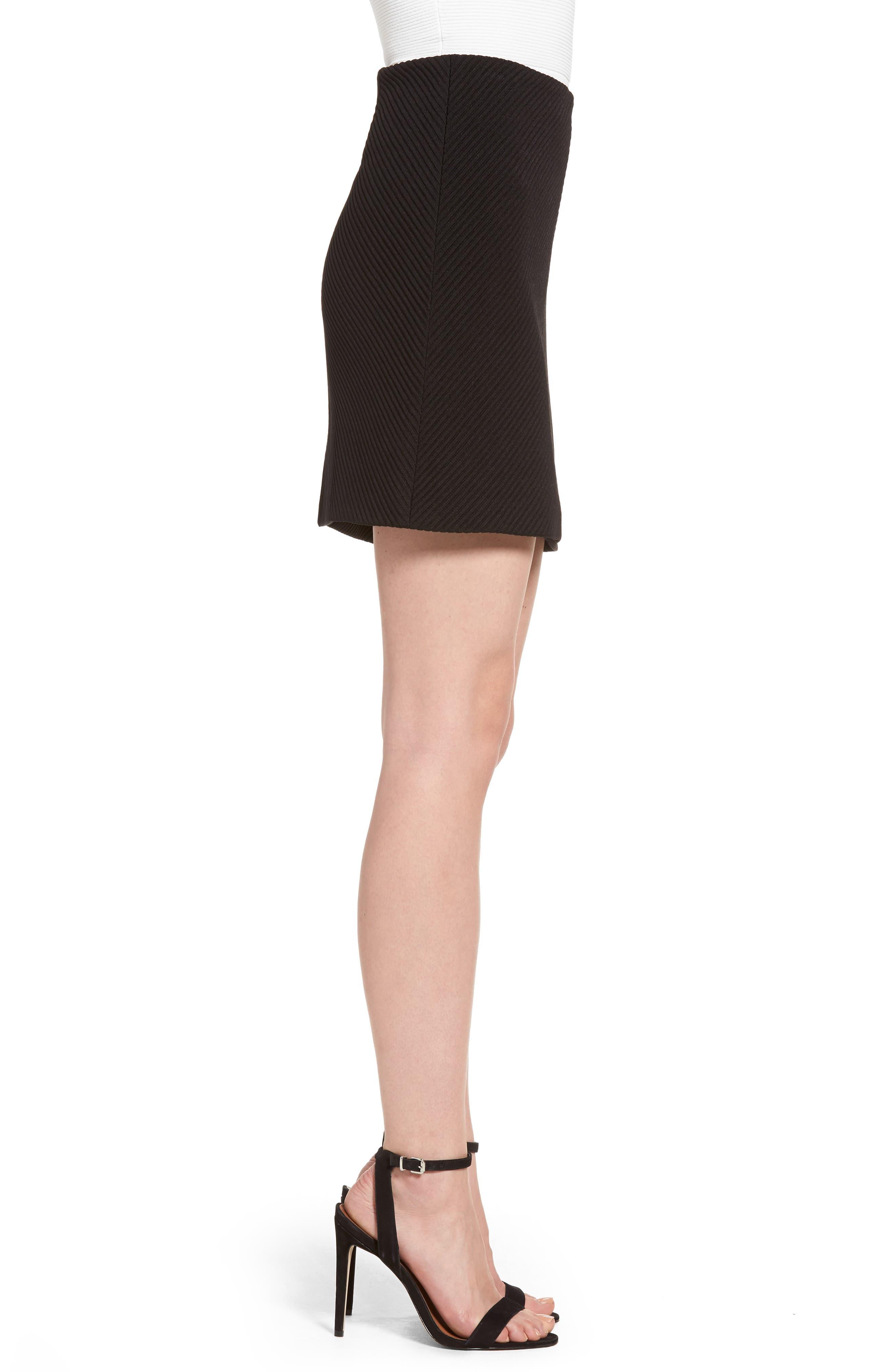A-Line Knit Miniskirt,                             Alternate thumbnail 3, color,                             Black