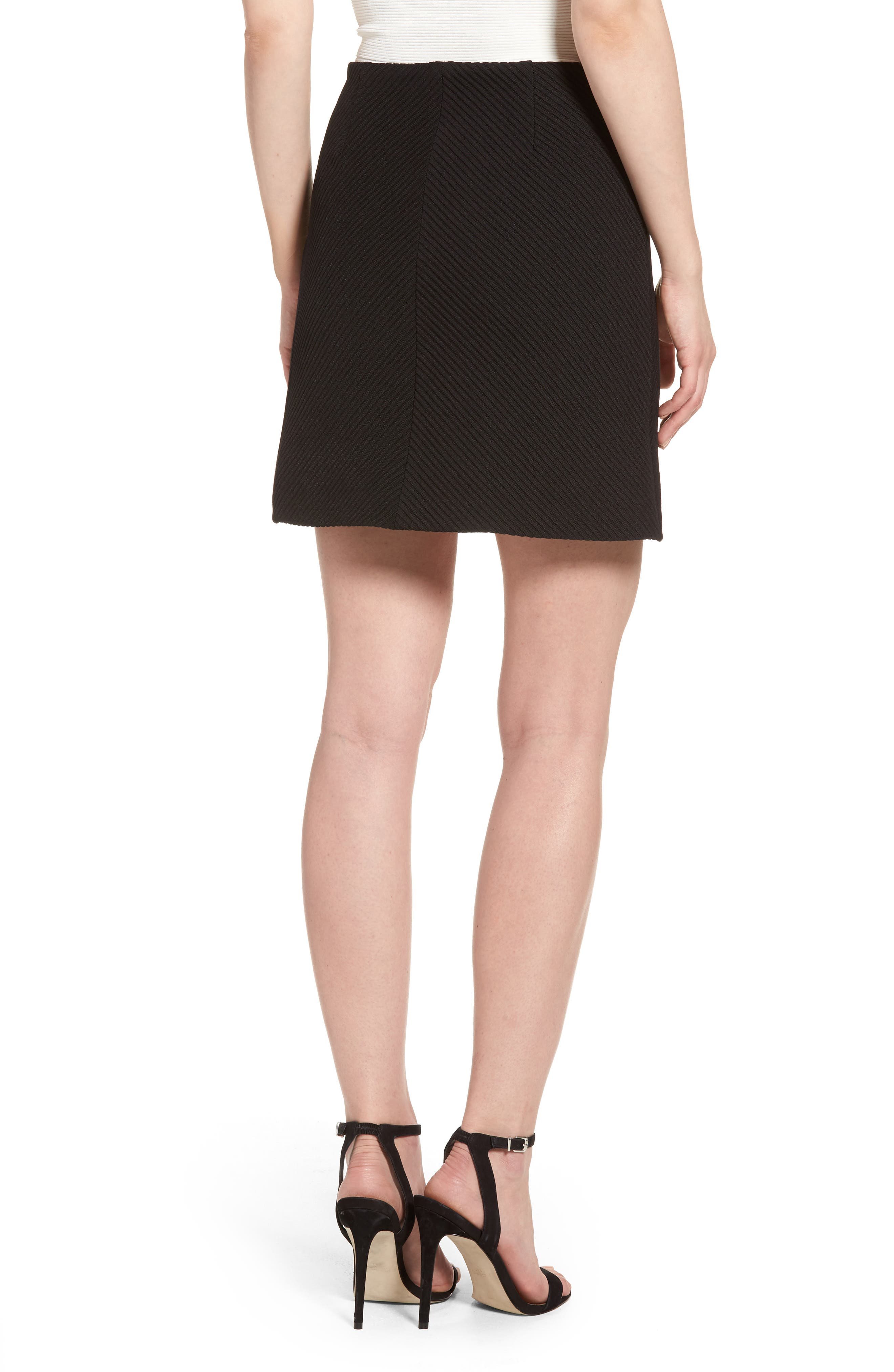 A-Line Knit Miniskirt,                             Alternate thumbnail 2, color,                             Black