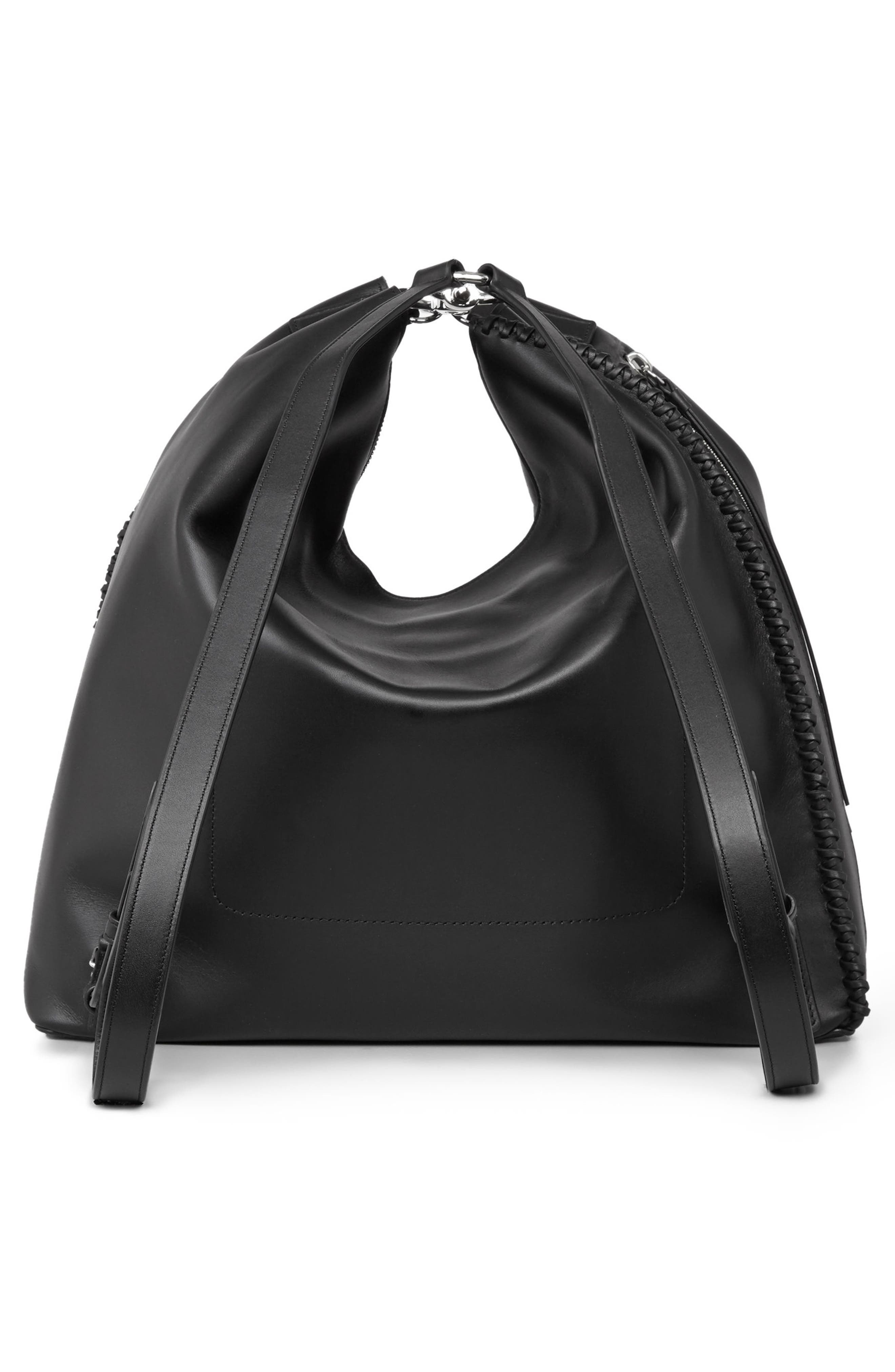 Pearl Convertible Leather Backpack,                             Alternate thumbnail 3, color,                             Black