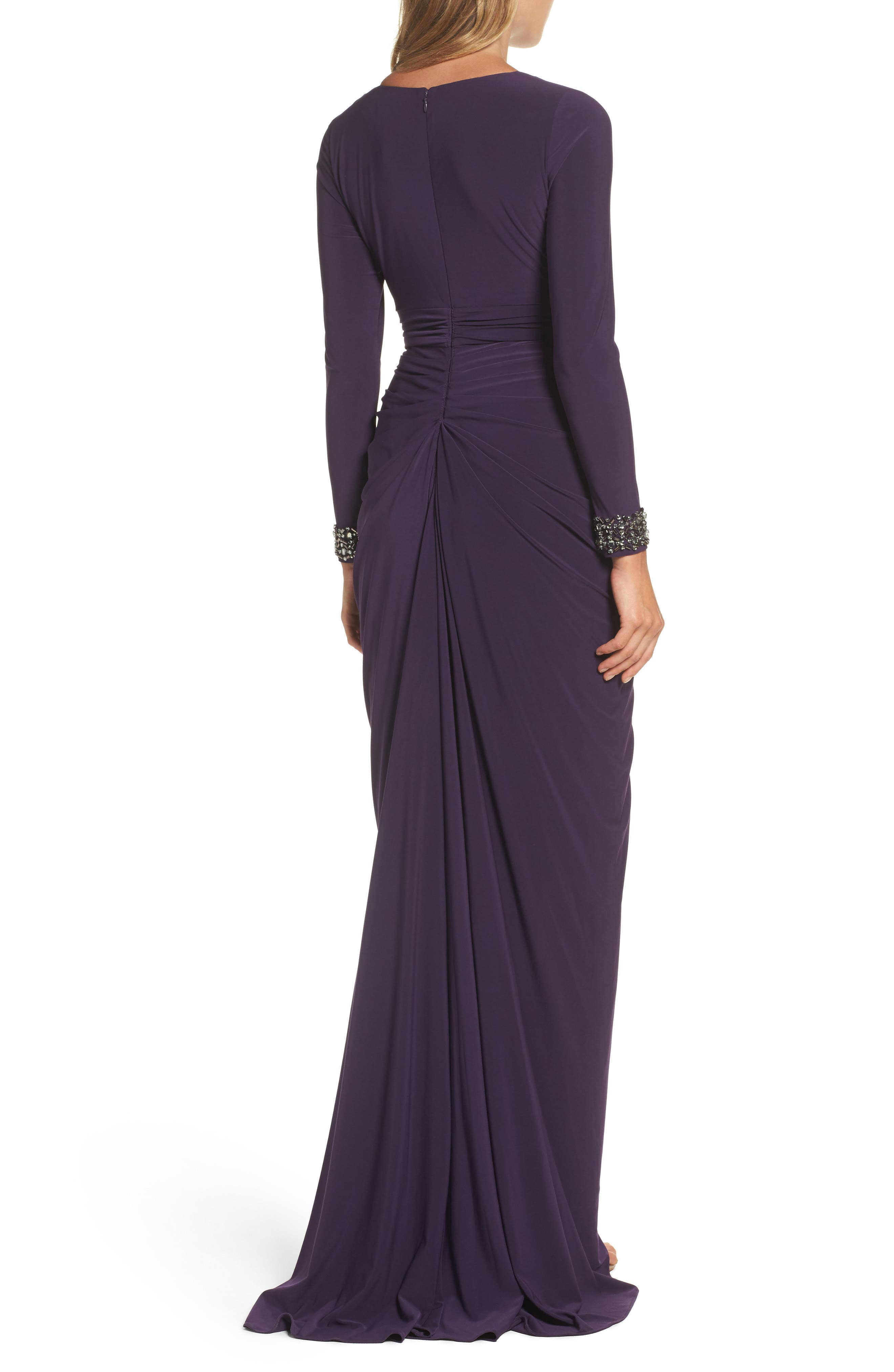 Beaded Jersey Gown,                             Alternate thumbnail 2, color,                             Aubergine