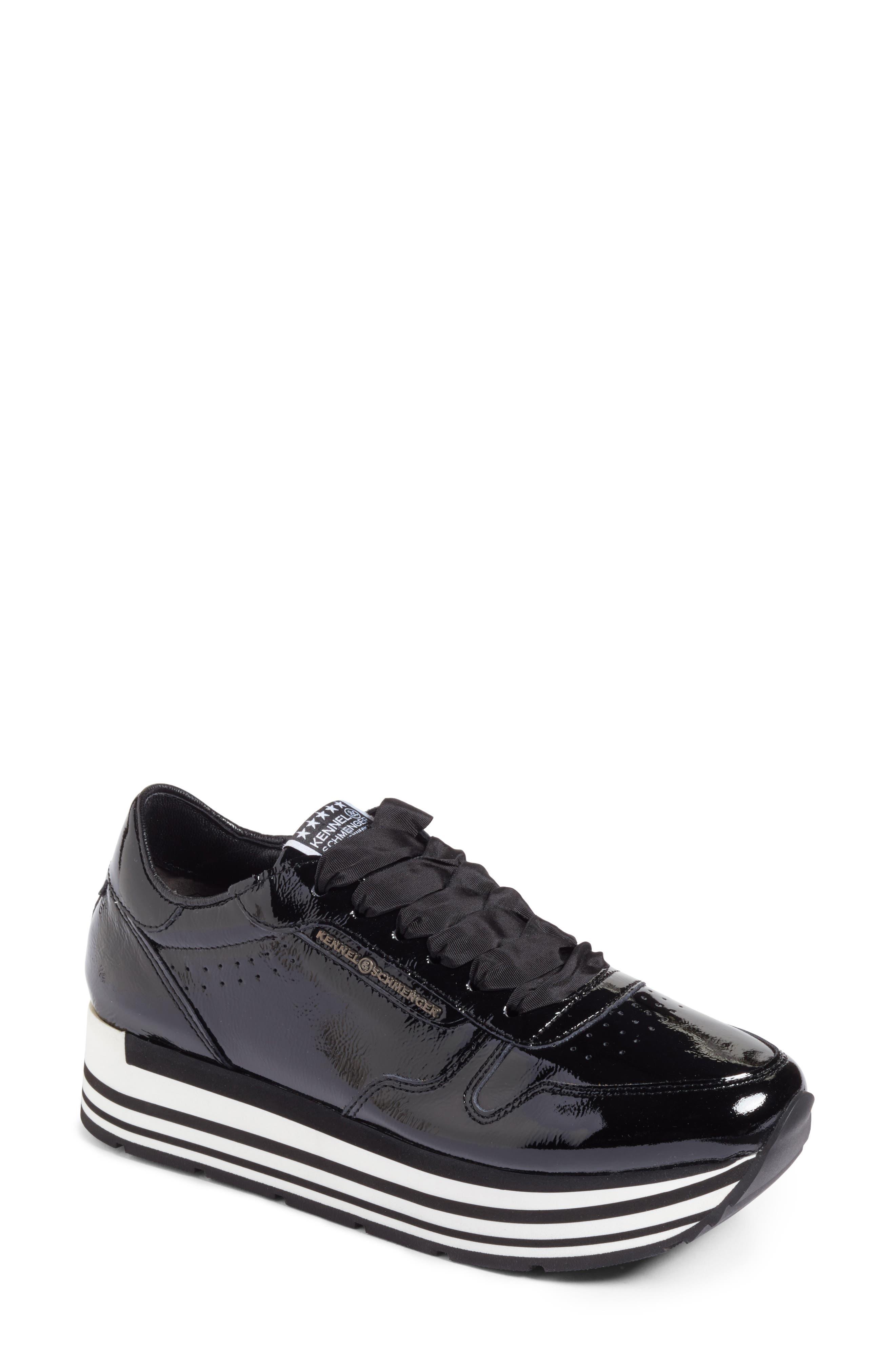 Kennel & Schmenger Nova Patent Leather Sneaker,                             Main thumbnail 1, color,                             Black