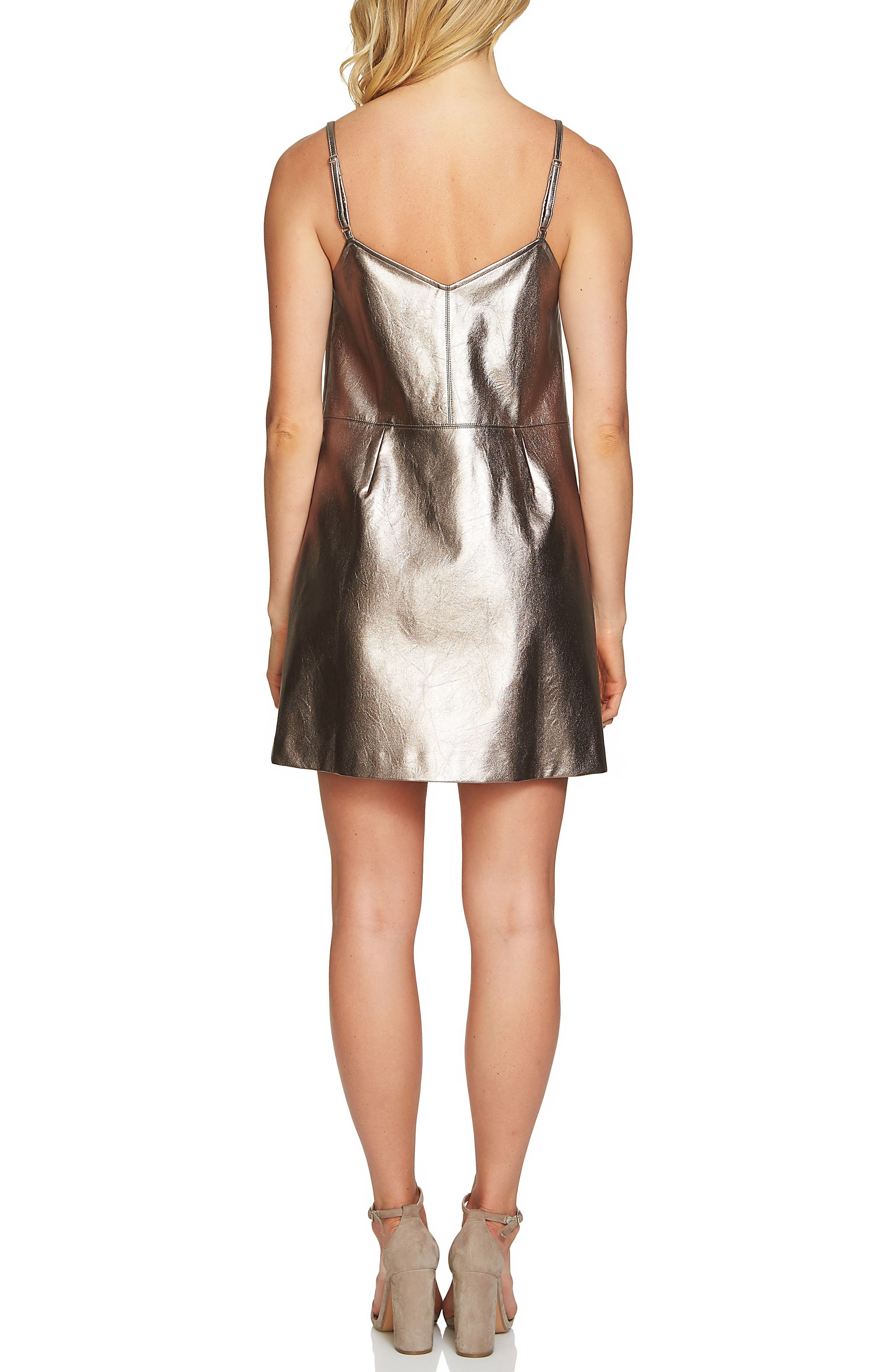 Alternate Image 2  - 1.STATE Metallic Faux Leather Slipdress