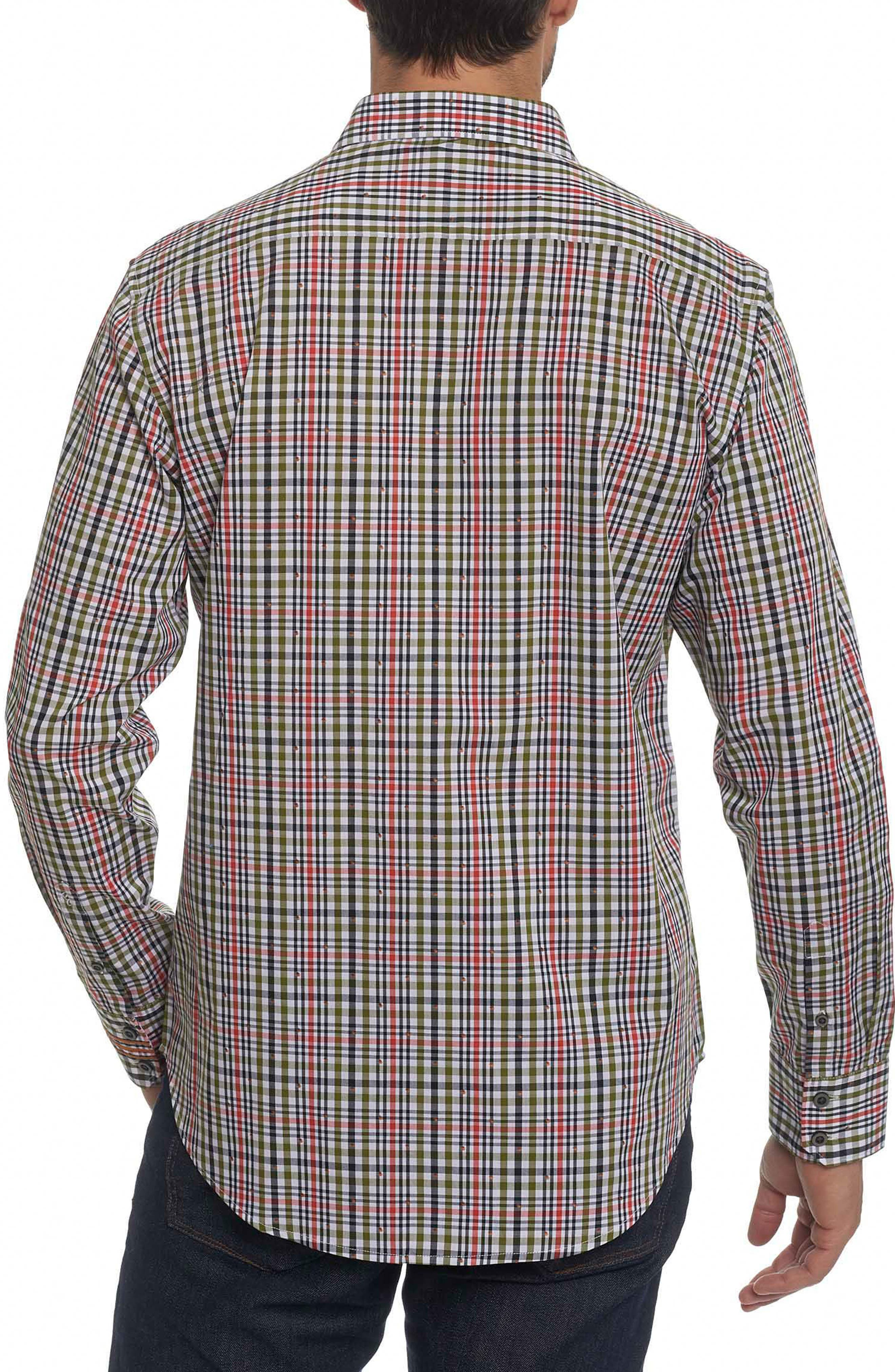 Cape Vincent Classic Fit Dobby Check Sport Shirt,                             Alternate thumbnail 2, color,                             Olive