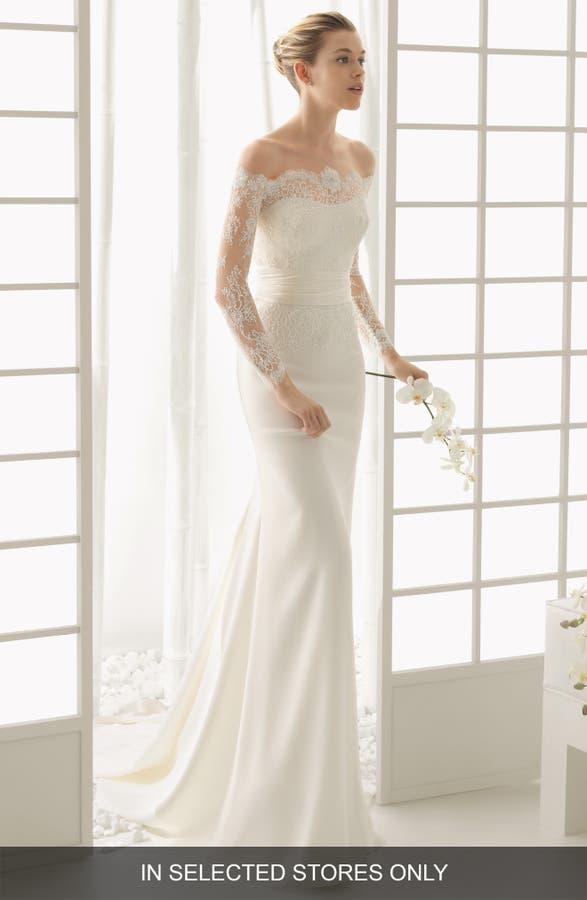Rosa Clara Dado Lace Overlay Column Dress | Nordstrom