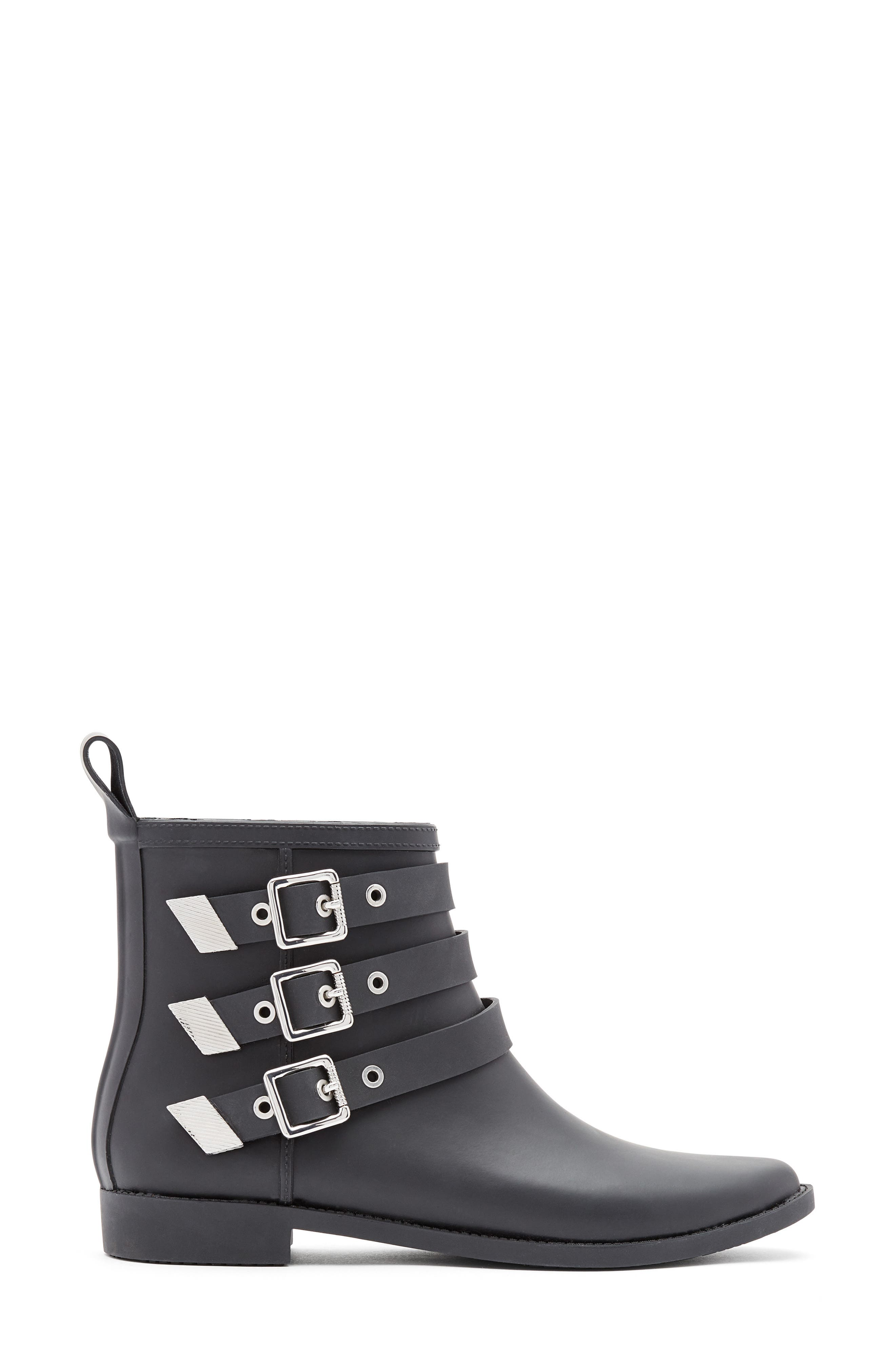 Nash Buckle Strap Rain Bootie,                             Alternate thumbnail 2, color,                             Black/ Silver