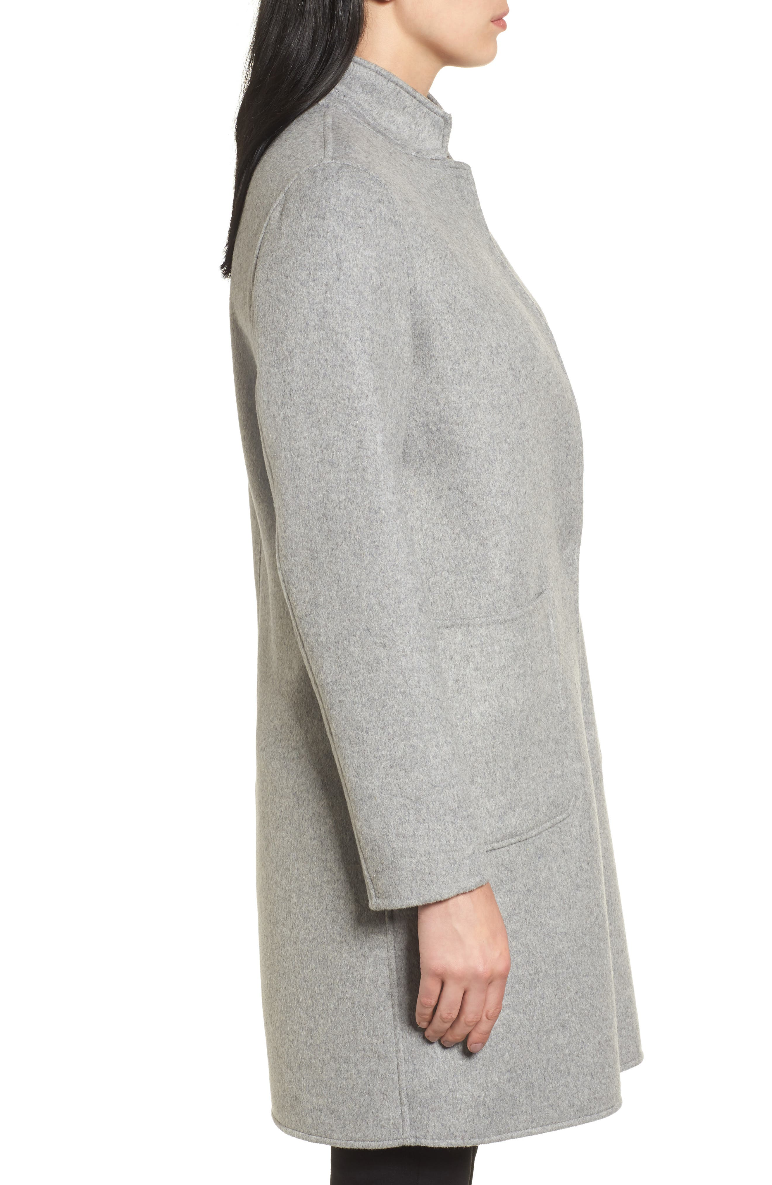 Double Face Wool Blend Coat,                             Alternate thumbnail 3, color,                             Light Grey