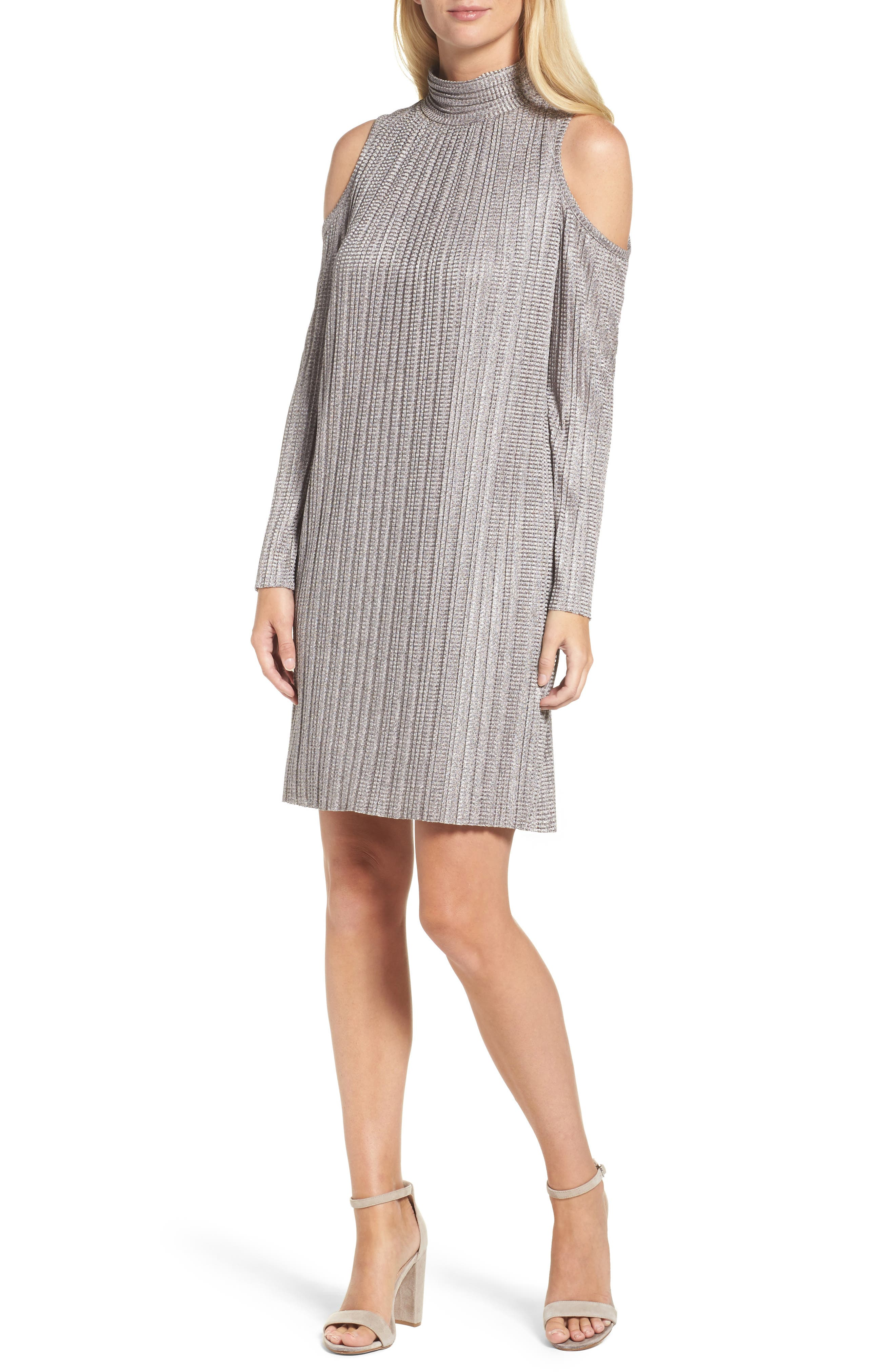 Cold Shoulder Pleated Shift Dress,                         Main,                         color, Blush/ Grey