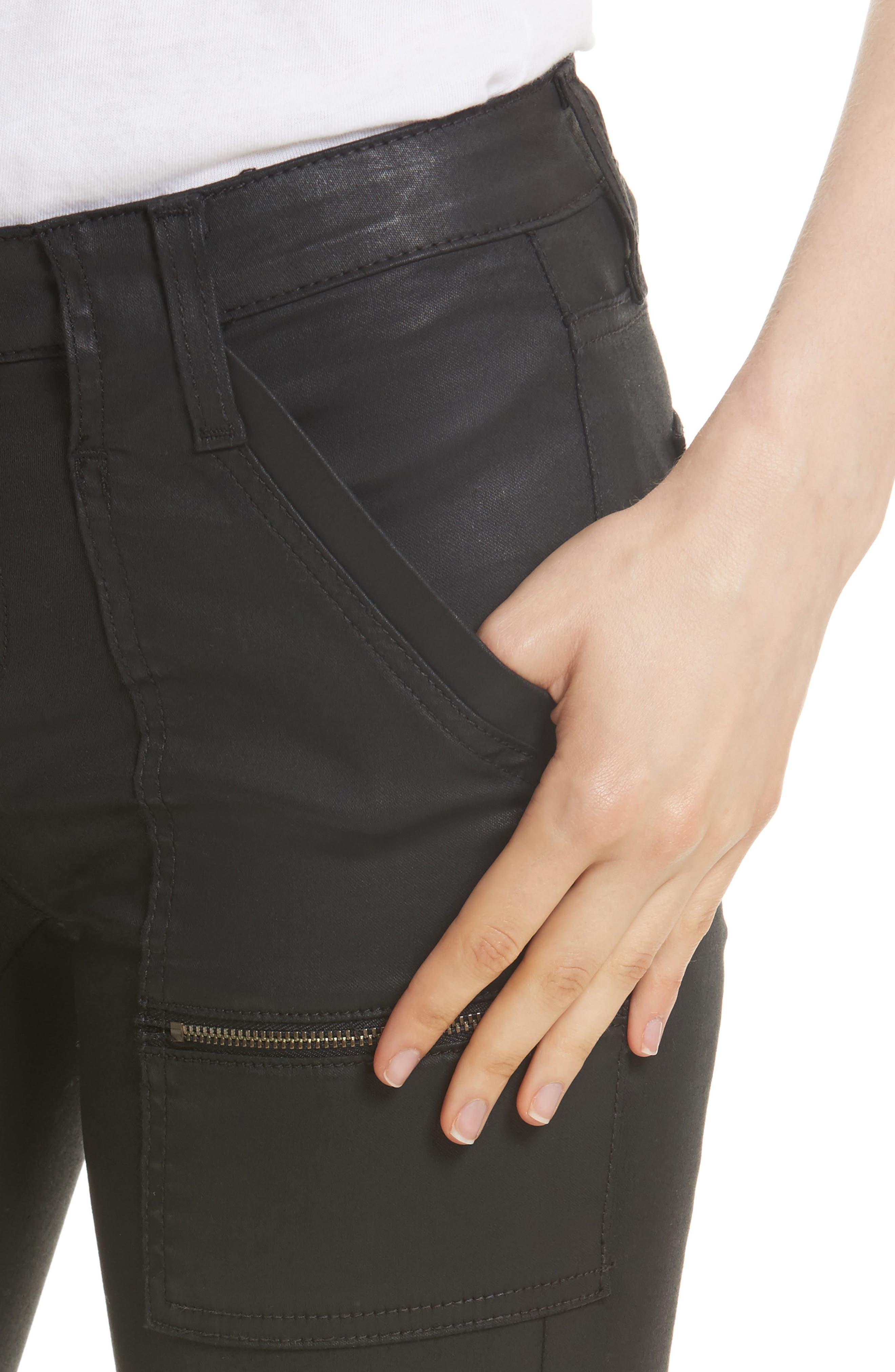 Park B Coated Skinny Jeans,                             Alternate thumbnail 4, color,                             Caviar