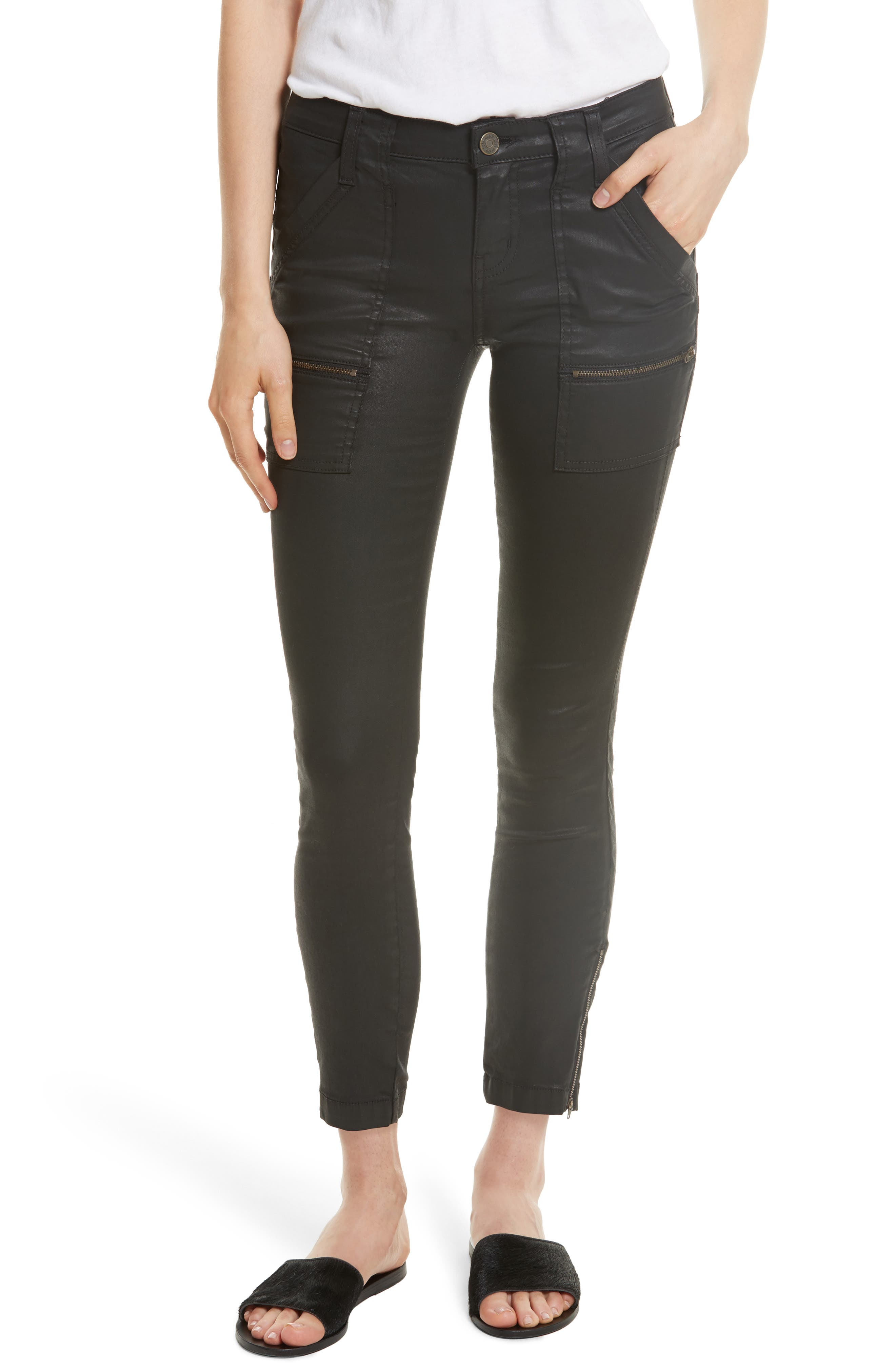 Park B Coated Skinny Jeans,                         Main,                         color, Caviar
