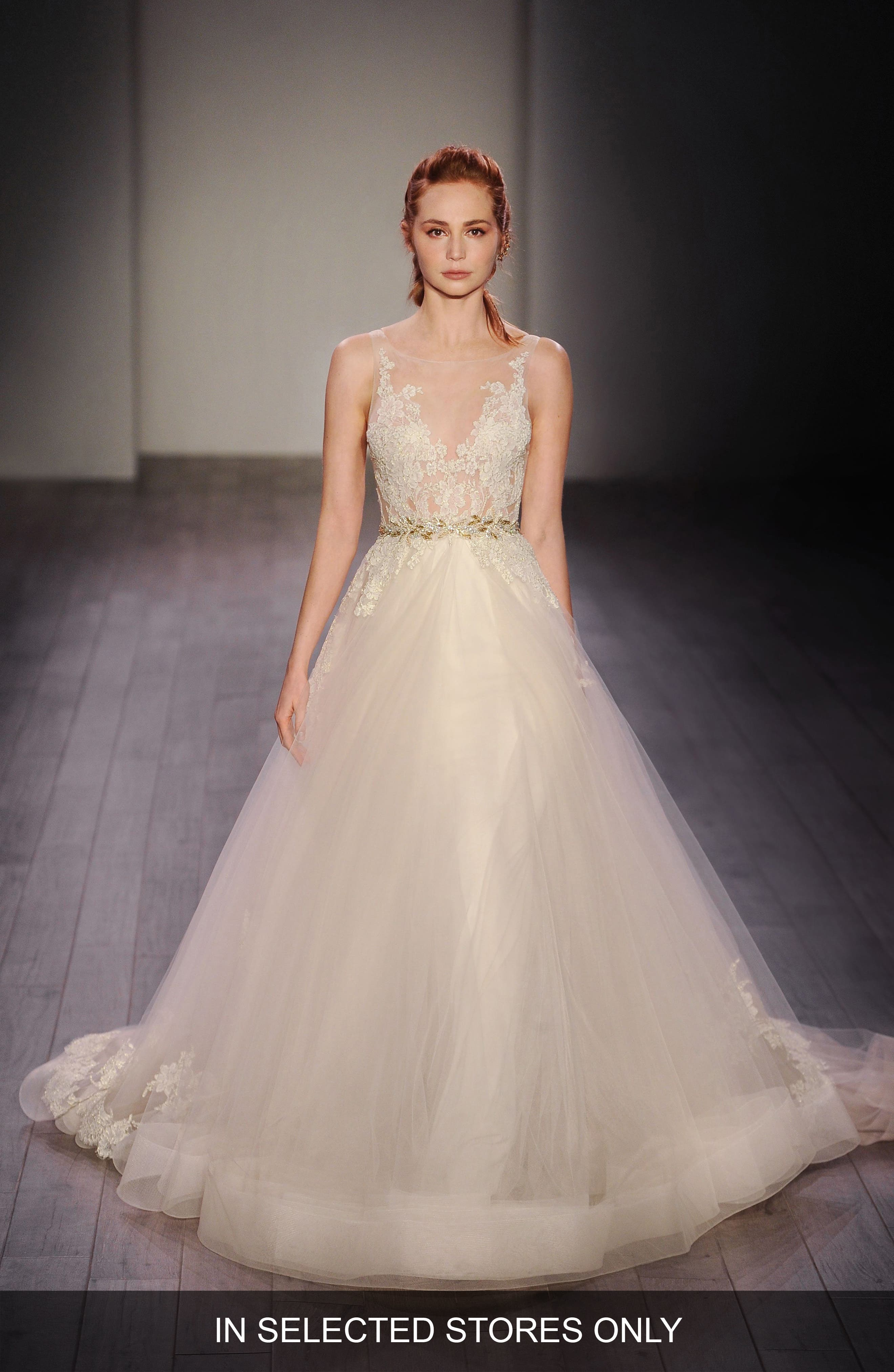 Lace Appliqué Tulle Ballgown Dress,                         Main,                         color, Ivory/Gold/Champagne