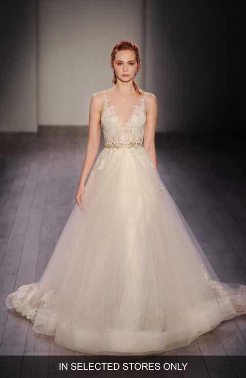 Lazaro Lace Applique Tulle Ballgown Dress