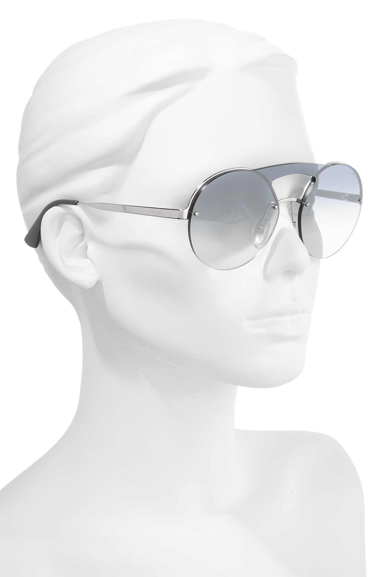 60mm Rimless Shield Sunglasses,                             Alternate thumbnail 2, color,                             Silver/ Blue