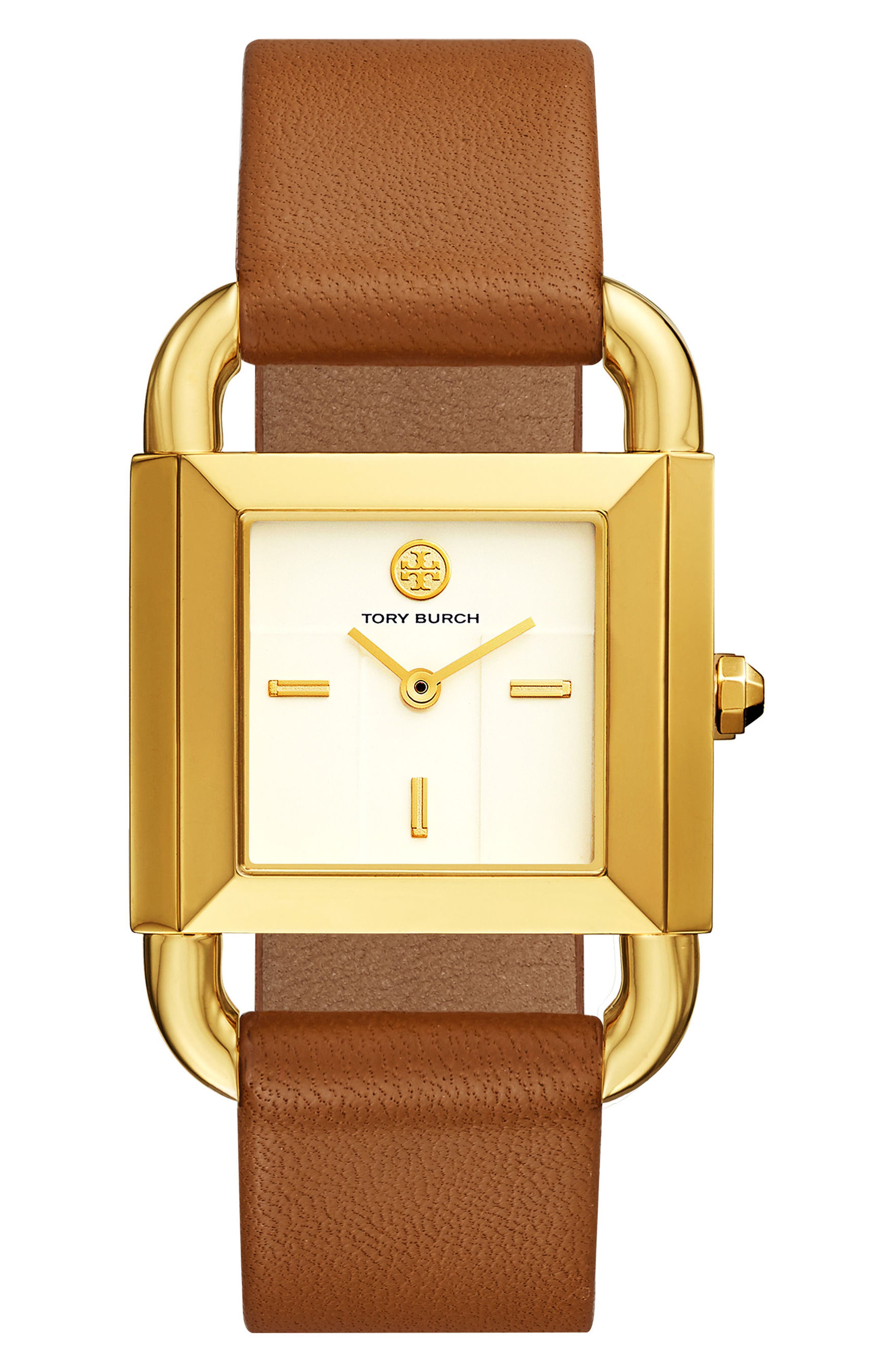 Phipps Leather Strap Watch, 29mm x 41mm,                             Main thumbnail 1, color,                             Luggage/ Ivory/ Gold