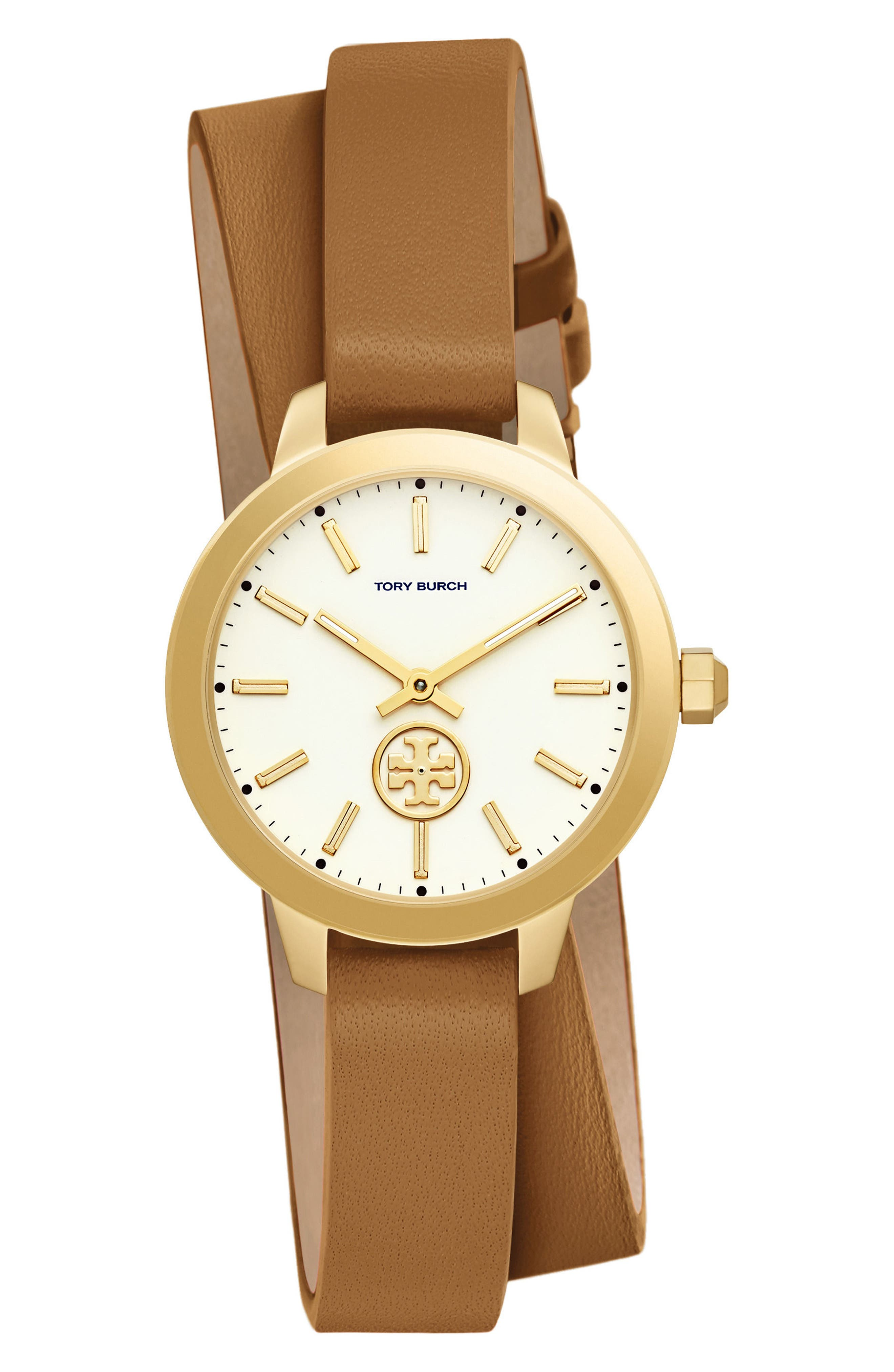 Collins Double Wrap Leather Strap Watch, 32mm,                         Main,                         color, Luggage/ Ivory/ Gold