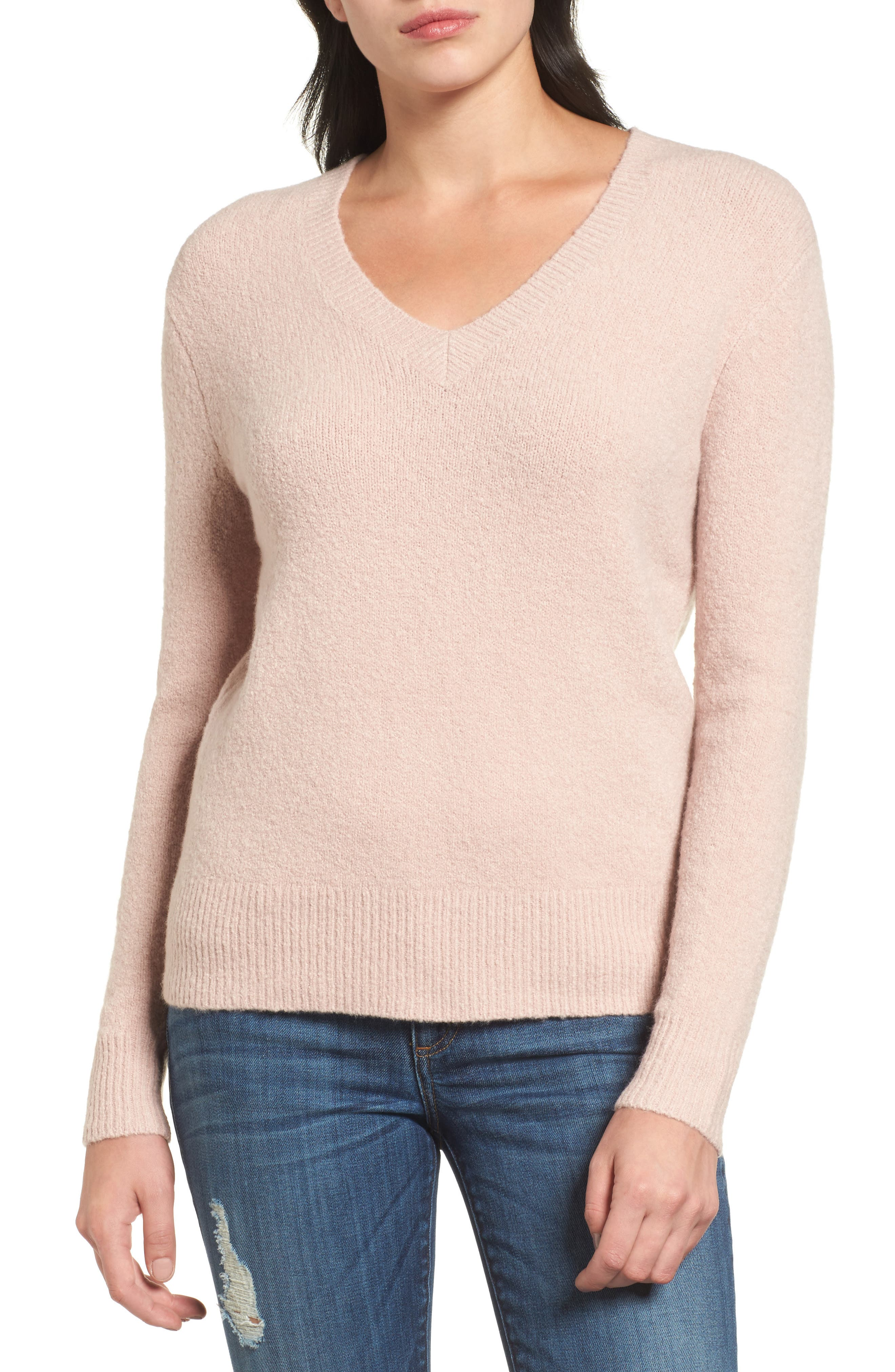 Tie Back Sweater,                         Main,                         color, Pink Adobe