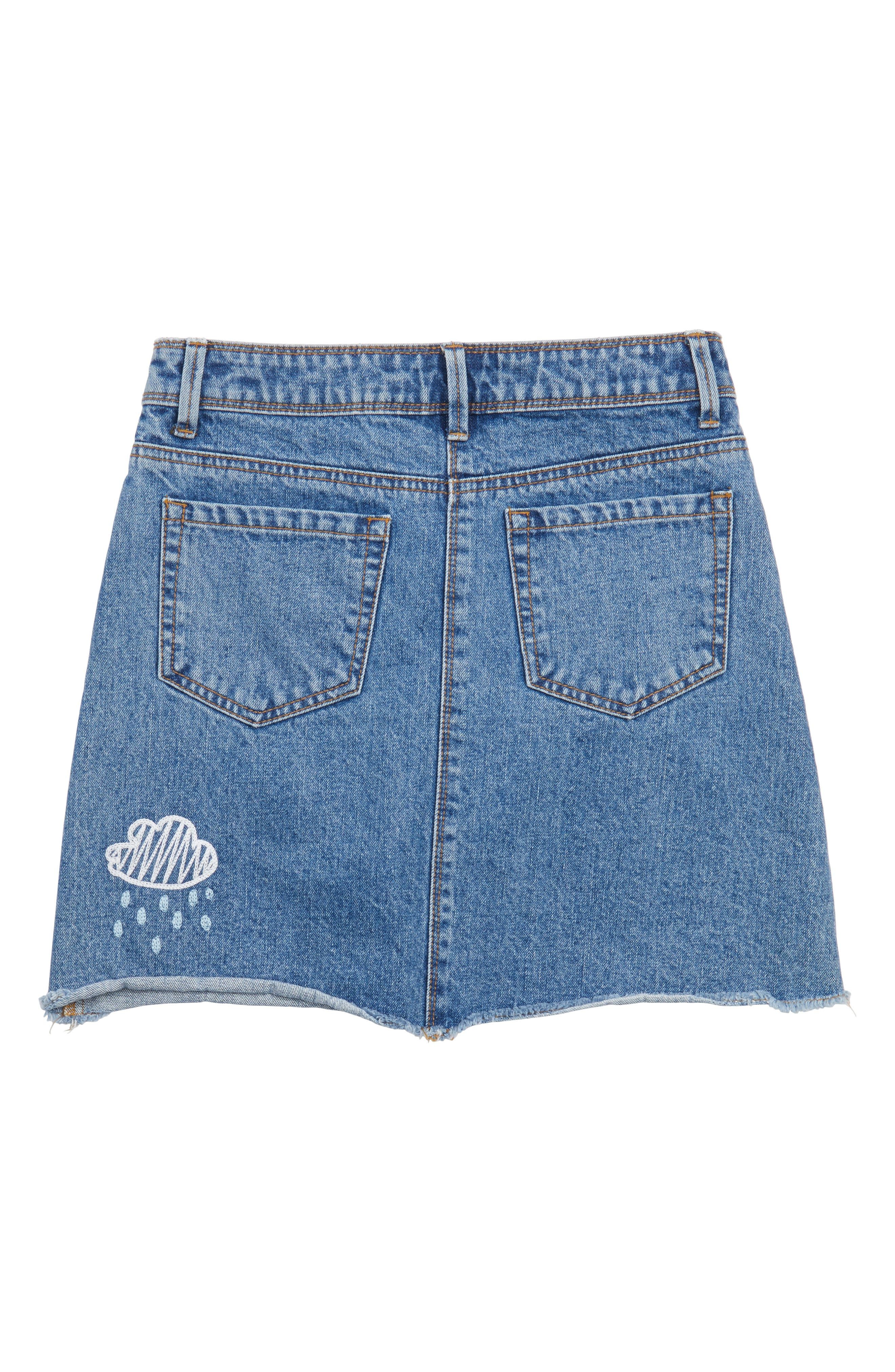 Alternate Image 2  - Maddie Embroidered Denim Skirt (Big Girls)