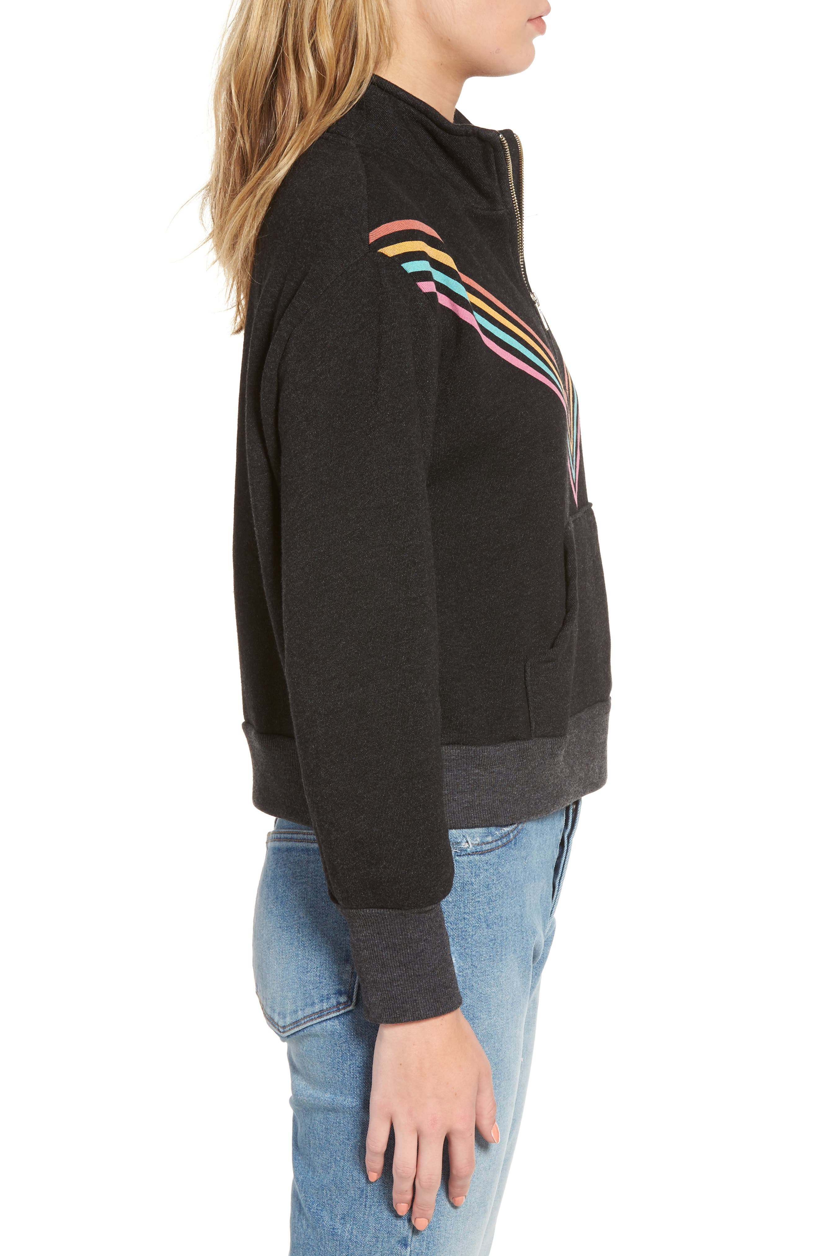 '80s Track Star Soto Warm-Up Sweatshirt,                             Alternate thumbnail 3, color,                             Heathered Black