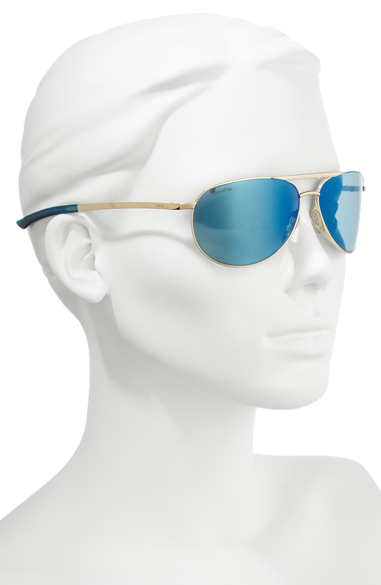 Serpico Slim 2.0 60mm ChromaPop Polarized Aviator Sunglasses,                             Alternate thumbnail 2, color,                             Gold/ Blue Polar