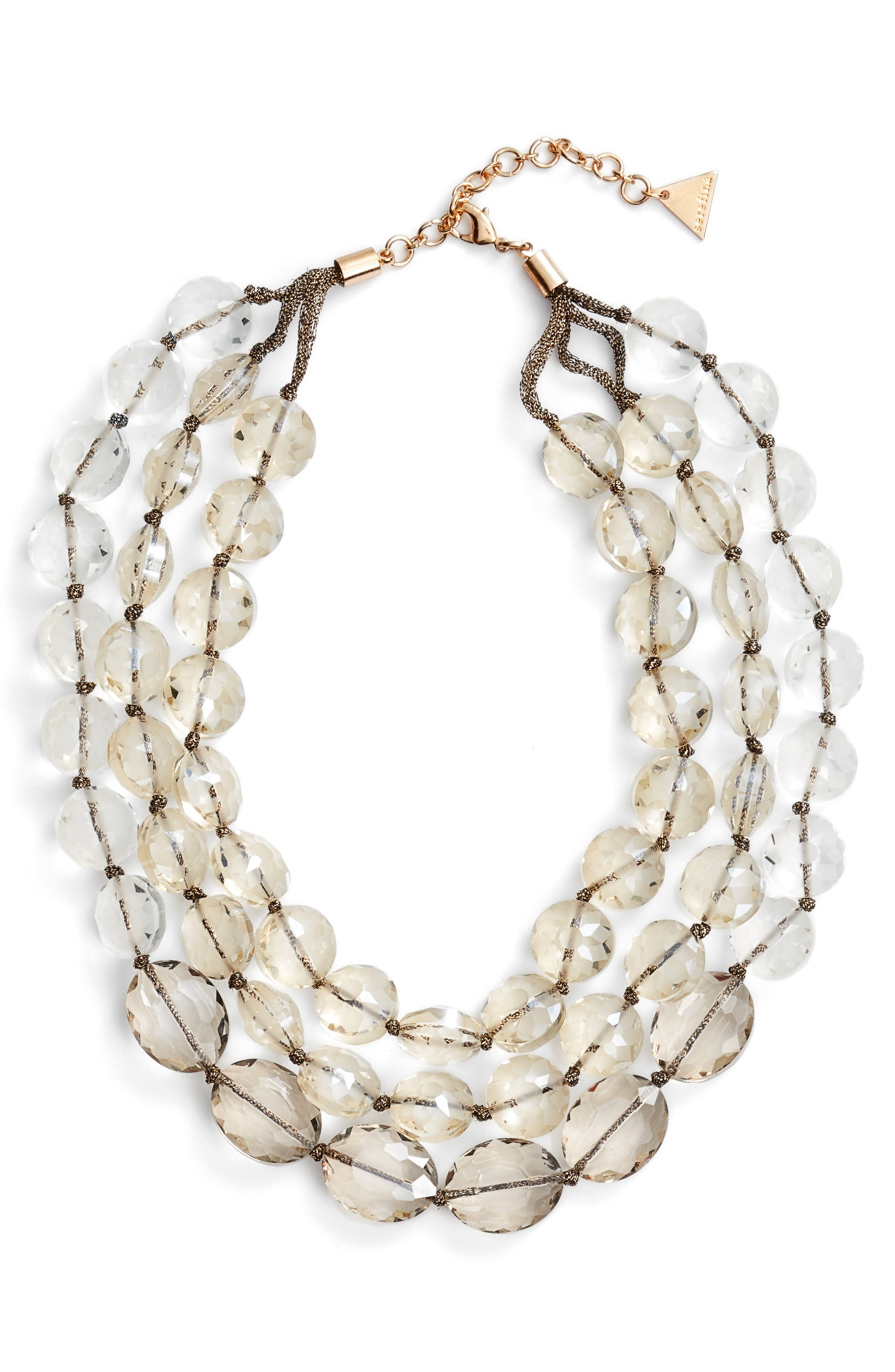 Triple Strand Crystal Statement Necklace,                         Main,                         color, Crystal
