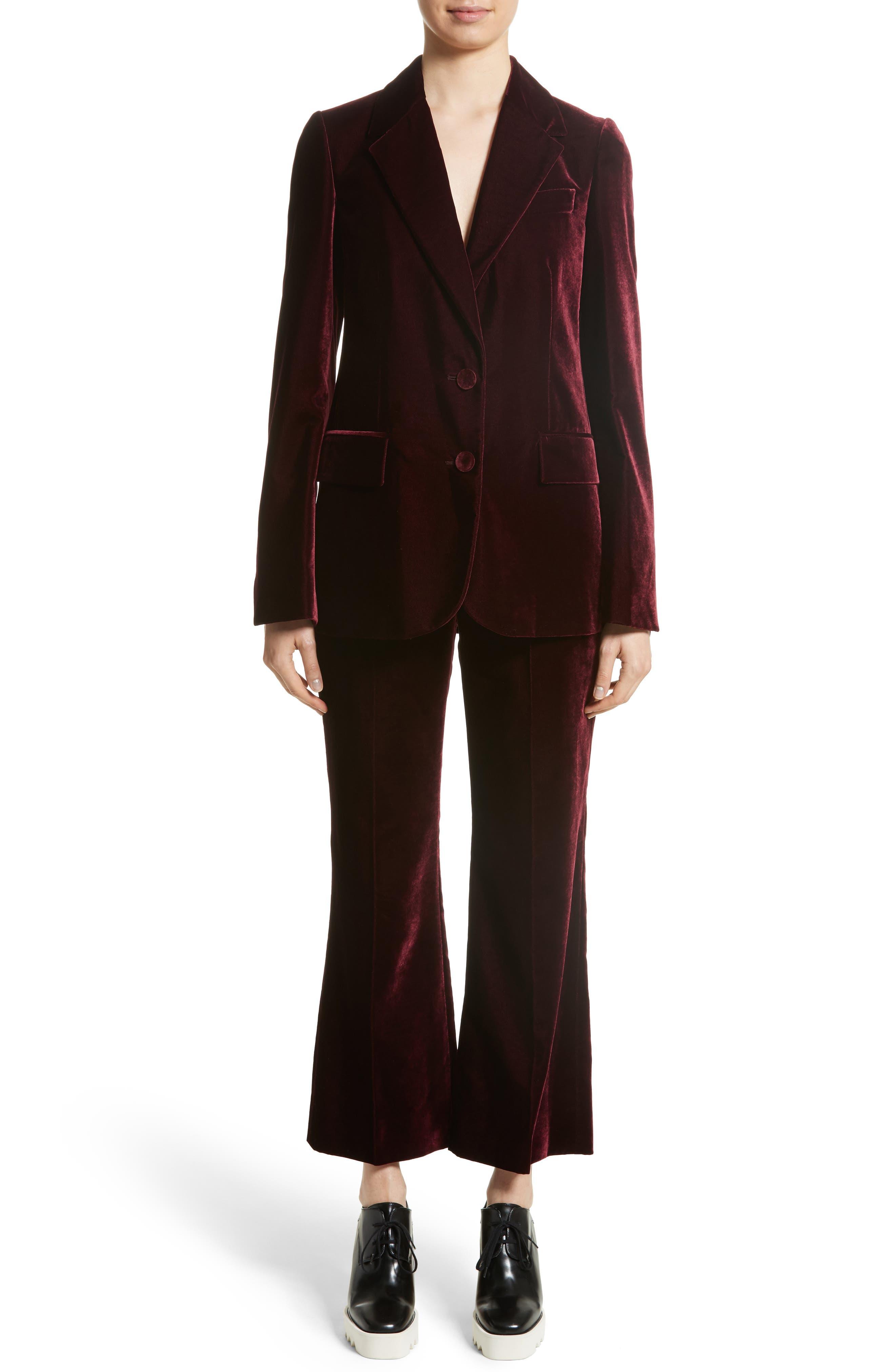 Bonded Velvet Crop Pants,                             Alternate thumbnail 8, color,                             Burgundy