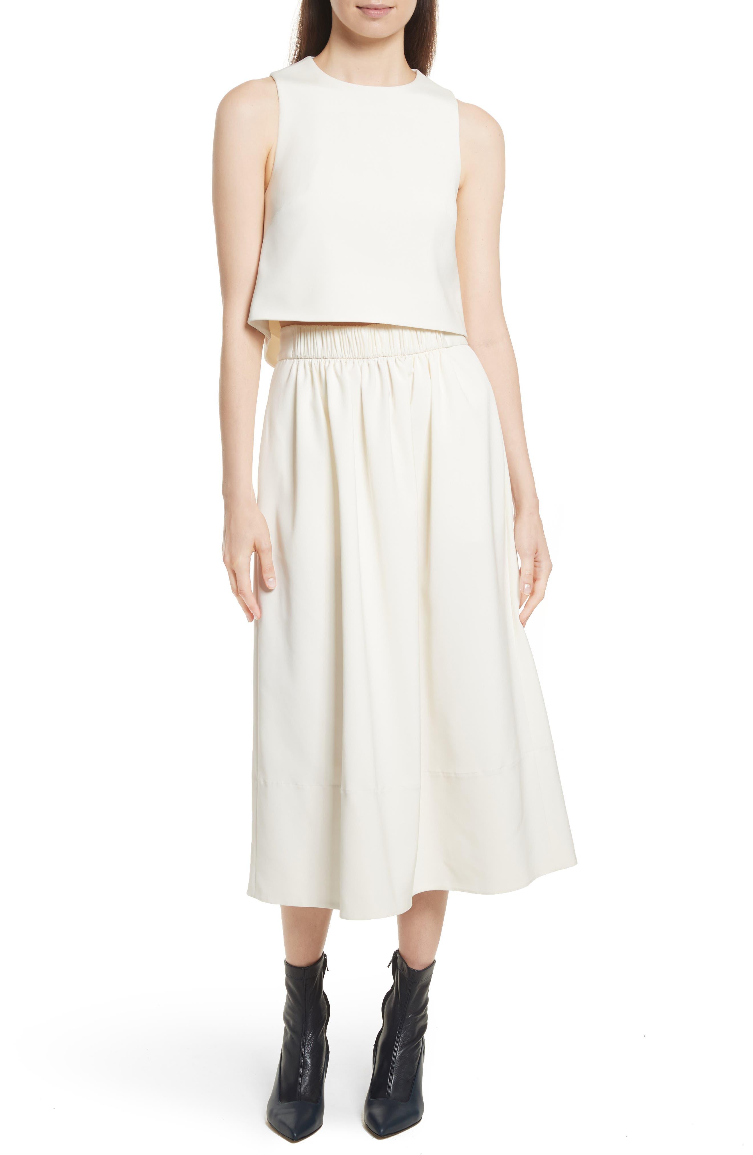 Stretch Faille Full Midi Skirt,                             Alternate thumbnail 7, color,                             Ivory