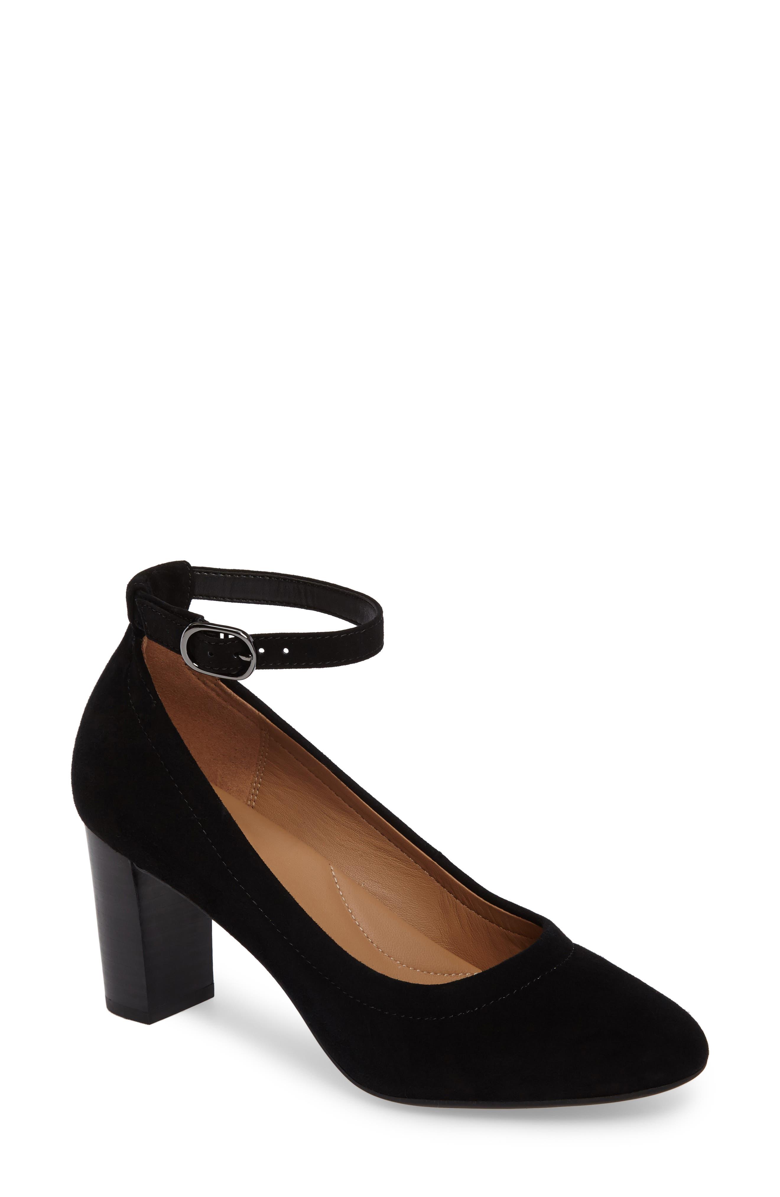 Chryssa Jana Ankle Strap Pump,                             Main thumbnail 1, color,                             Black Suede