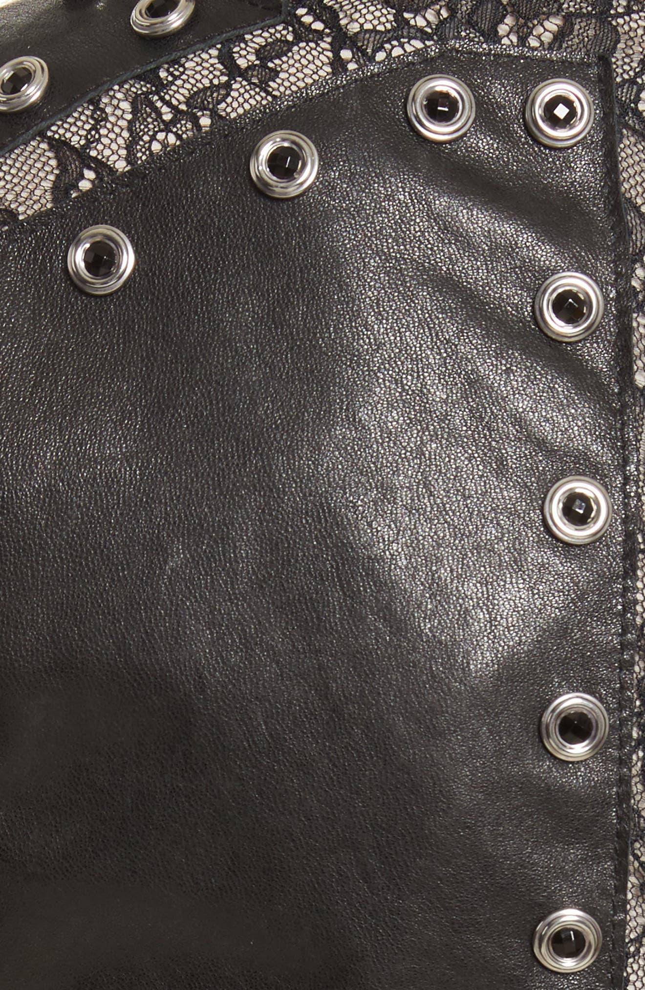 Tahlia Embellished Leather Panel A-Line Dress,                             Alternate thumbnail 5, color,                             Black