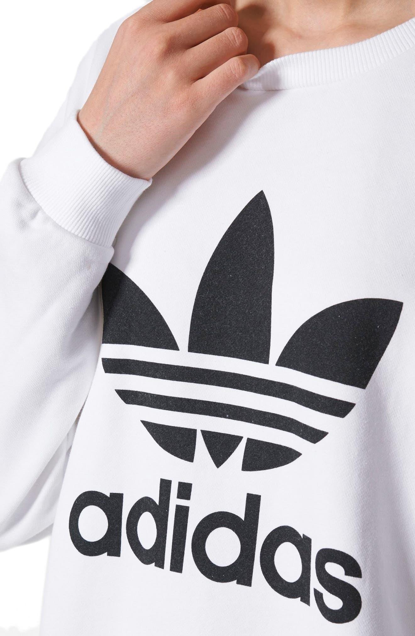 Originals Trefoil Crewneck Sweatshirt,                             Alternate thumbnail 6, color,                             White