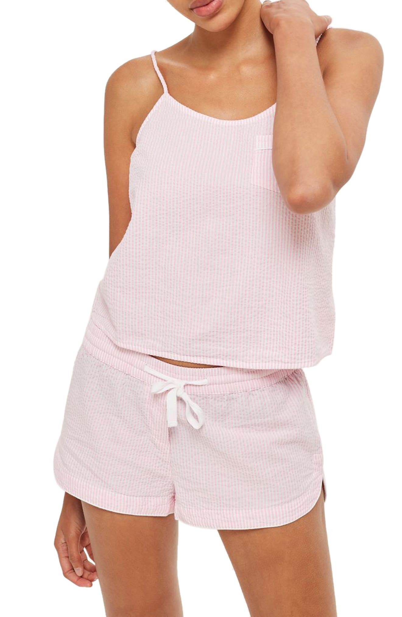 Seersucker Short Pajamas,                         Main,                         color, Light Pink Multi