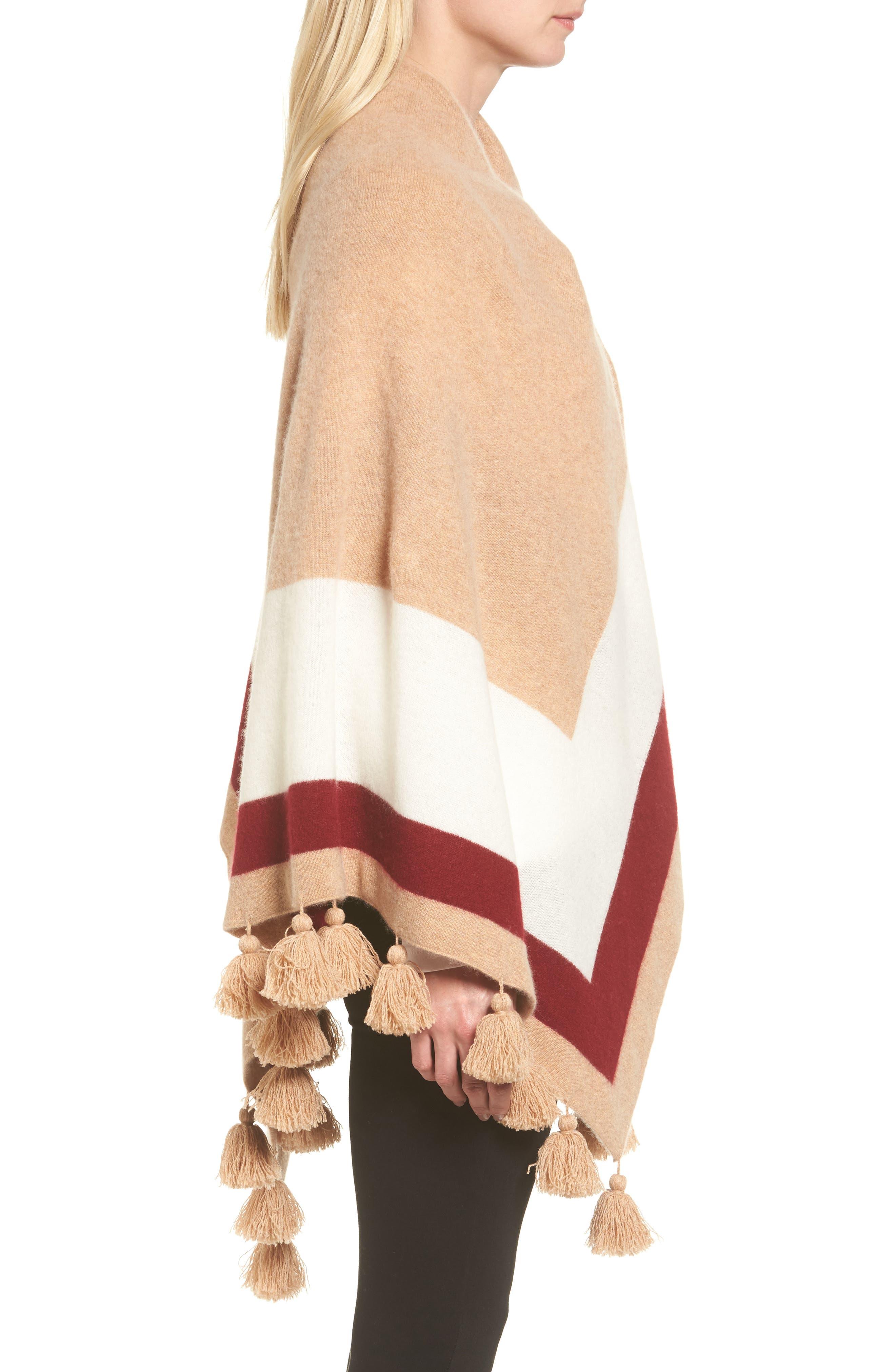 Tassel Trim Cashmere Wrap,                             Alternate thumbnail 3, color,                             Tan Camel Heather Combo