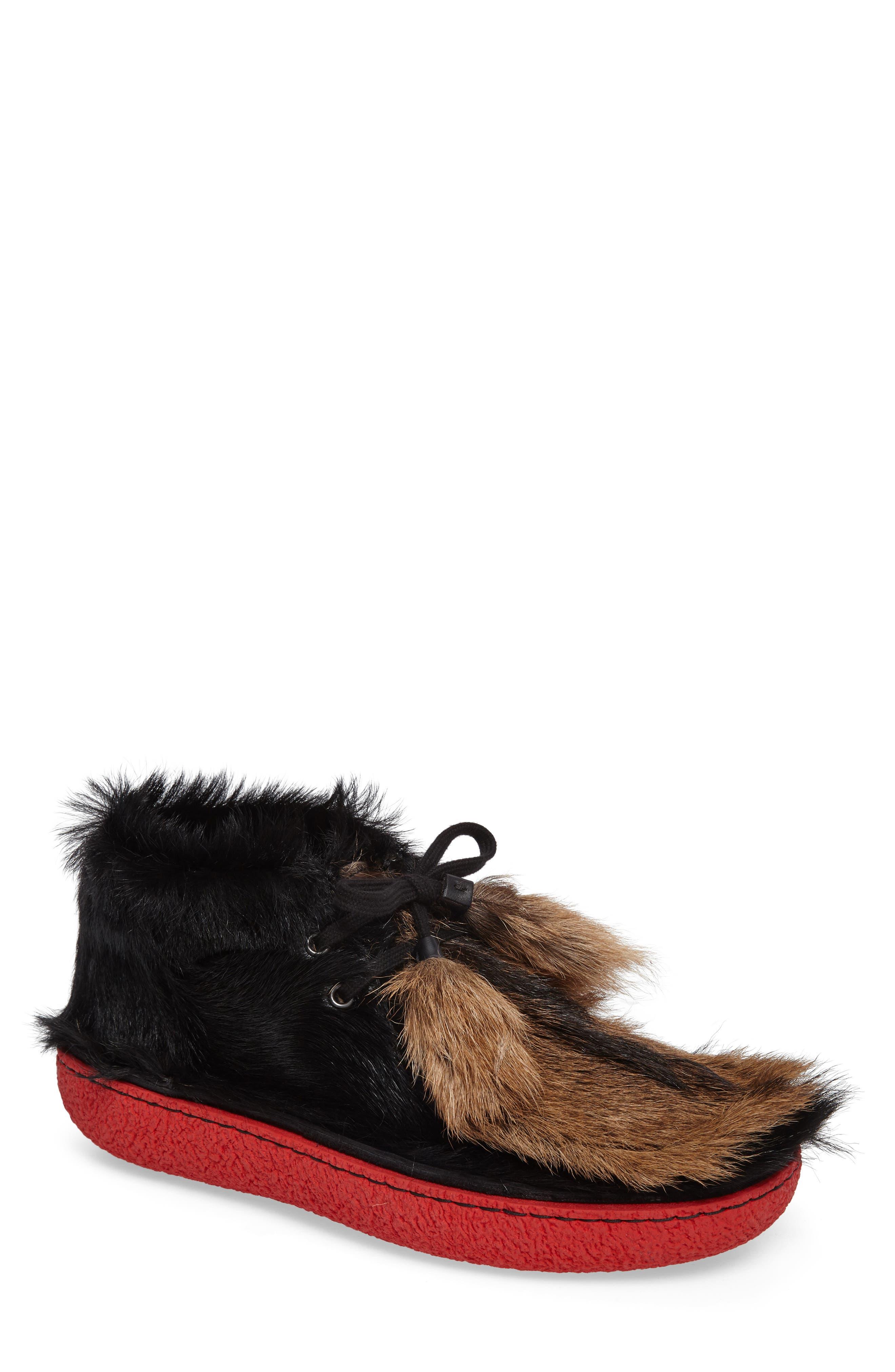 Genuine Calf and Goat Hair Chukka Boot,                             Main thumbnail 1, color,                             Nero Multi