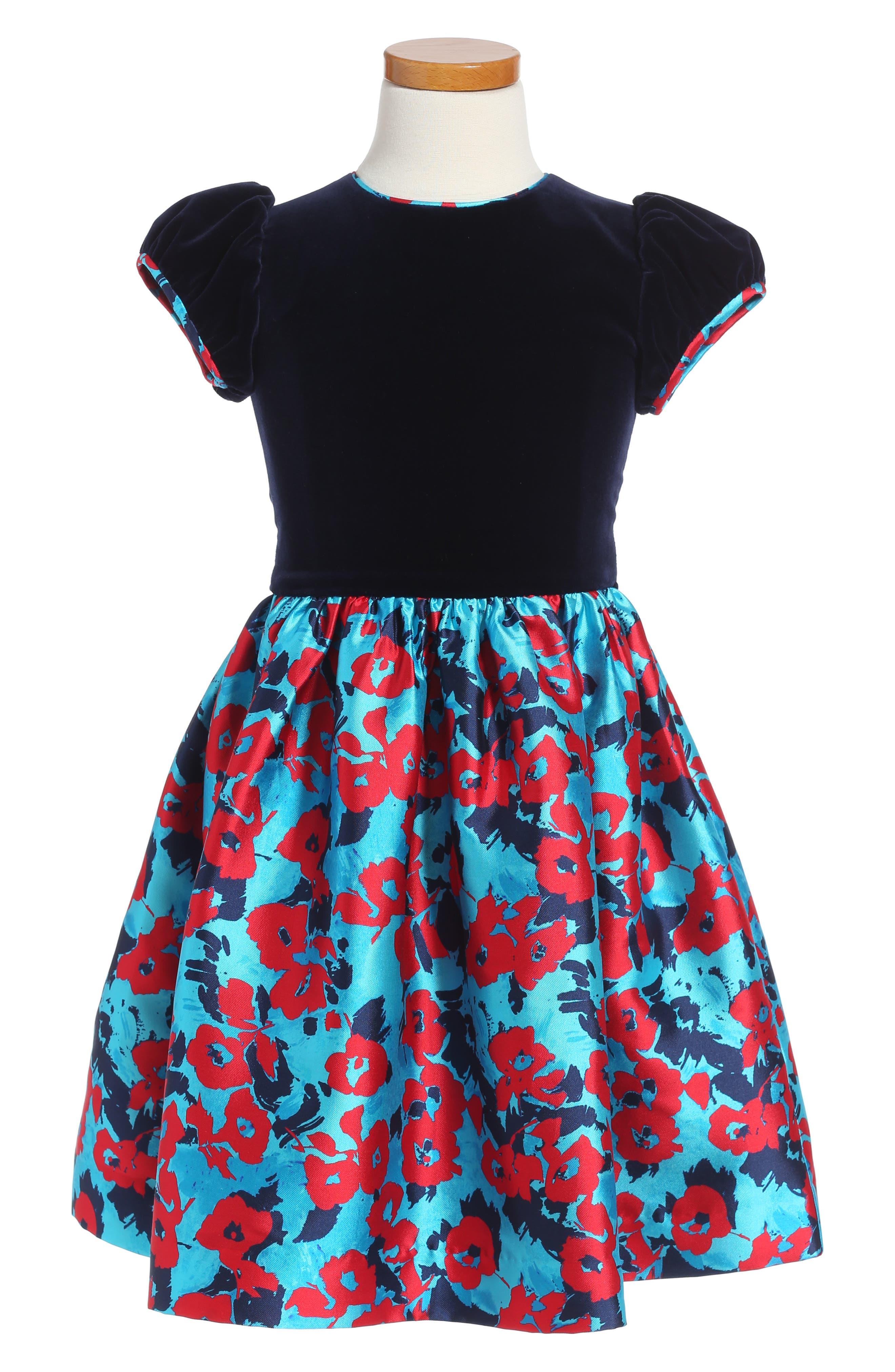 Wild Roses Mikado Party Dress,                             Main thumbnail 1, color,                             Peacock Multi