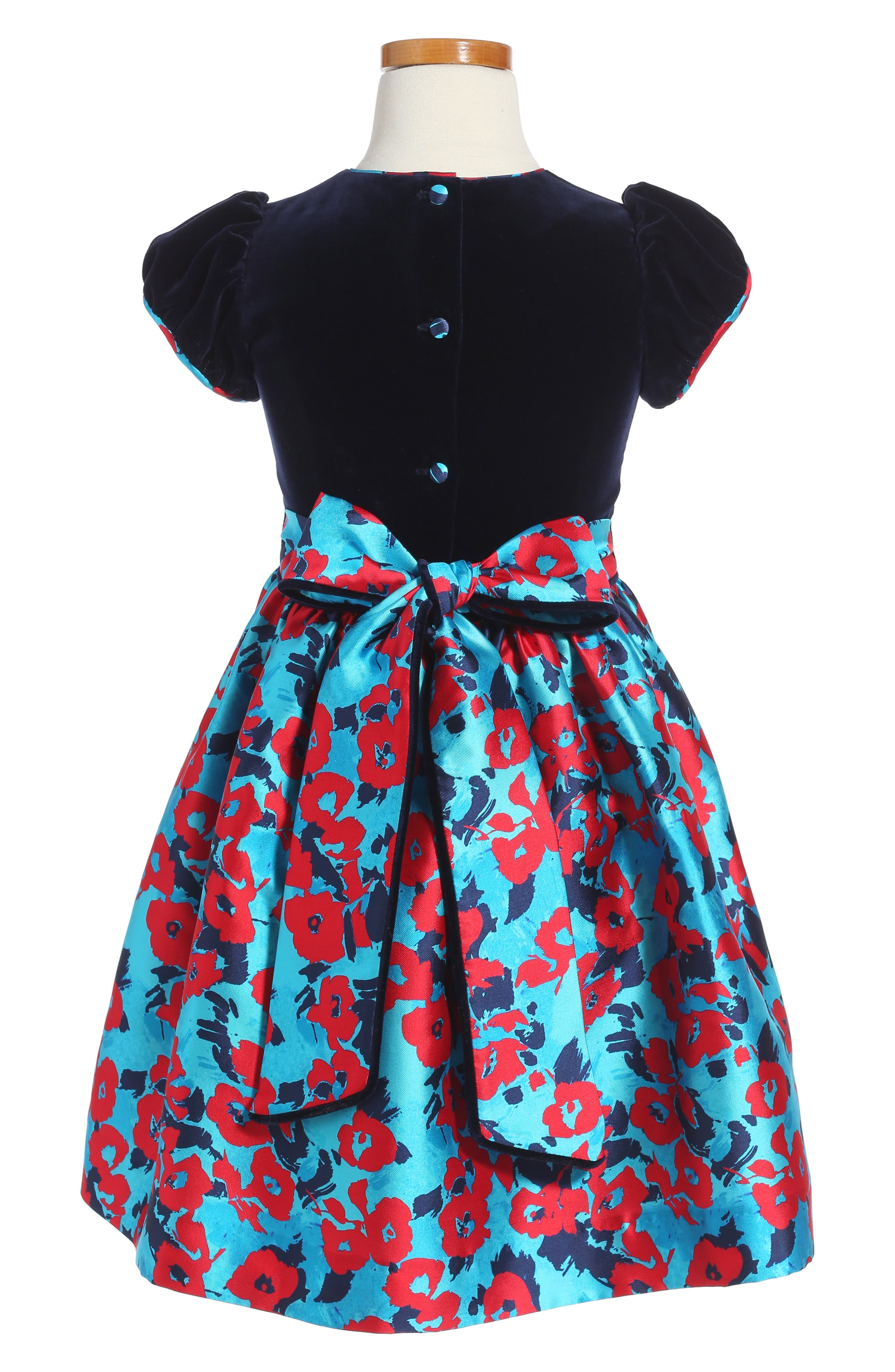 Wild Roses Mikado Party Dress,                             Alternate thumbnail 2, color,                             Peacock Multi