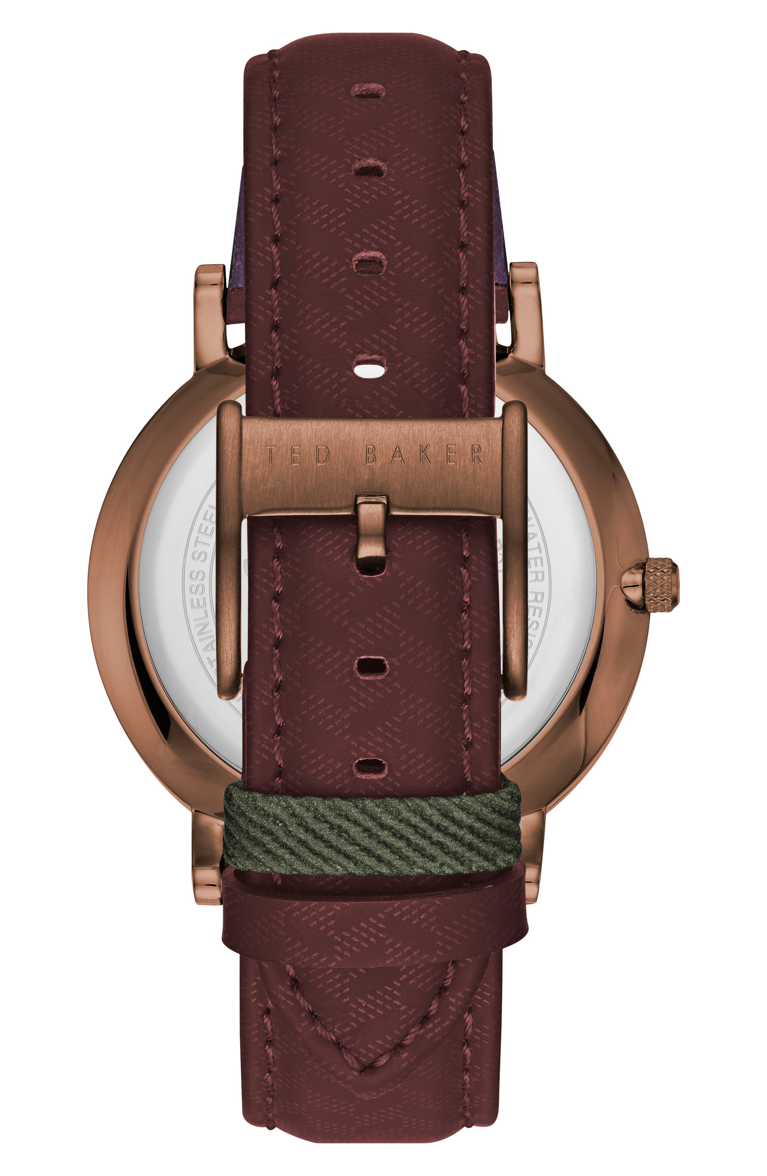 David Leather Strap Watch, 40mm,                             Alternate thumbnail 2, color,                             Green/ Dark Red