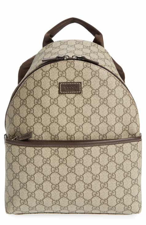 b2ea0280695c Gucci Logo Canvas Backpack