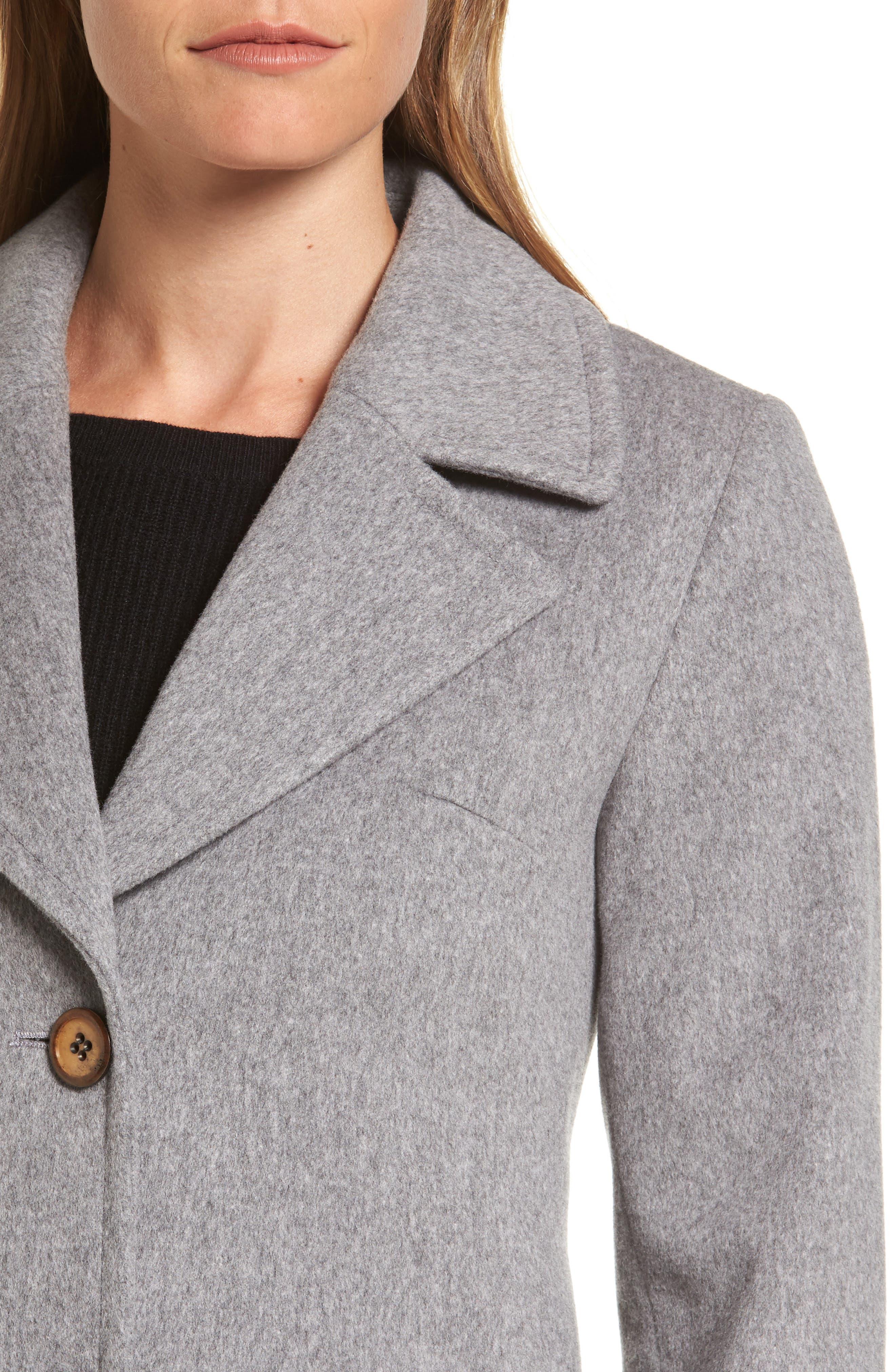 Alternate Image 4  - Fleurette Notch Collar Wool Walking Coat (Regular & Petite)