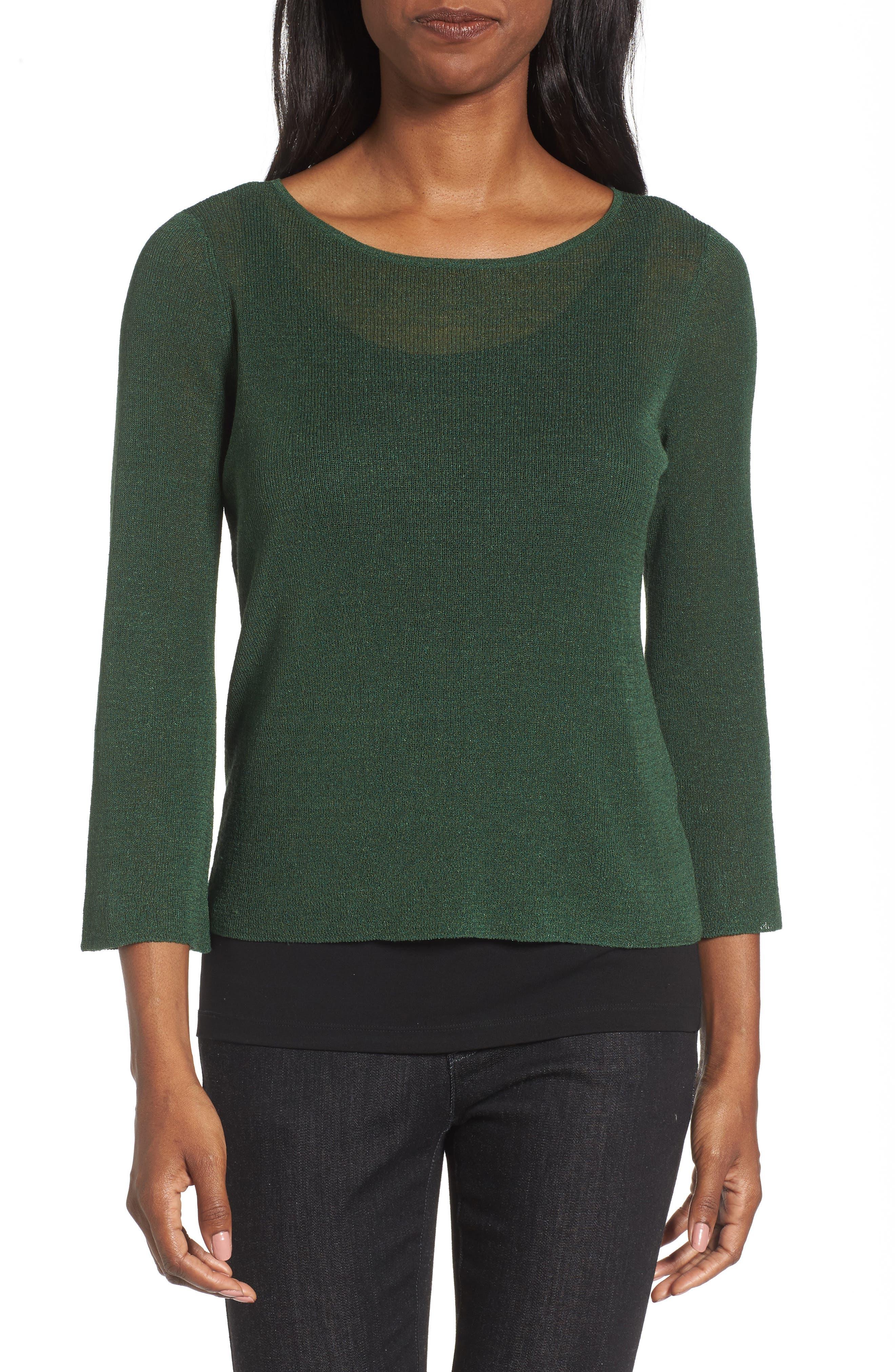 Organic Linen Blend Top,                         Main,                         color, Hemlock