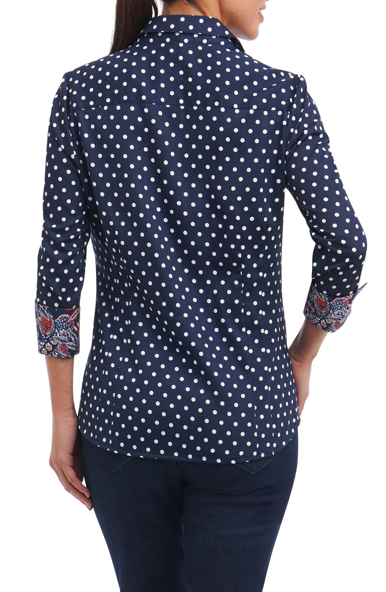 Taylor Classic Dot Non-Iron Cotton Shirt,                             Alternate thumbnail 2, color,                             Navy/ White