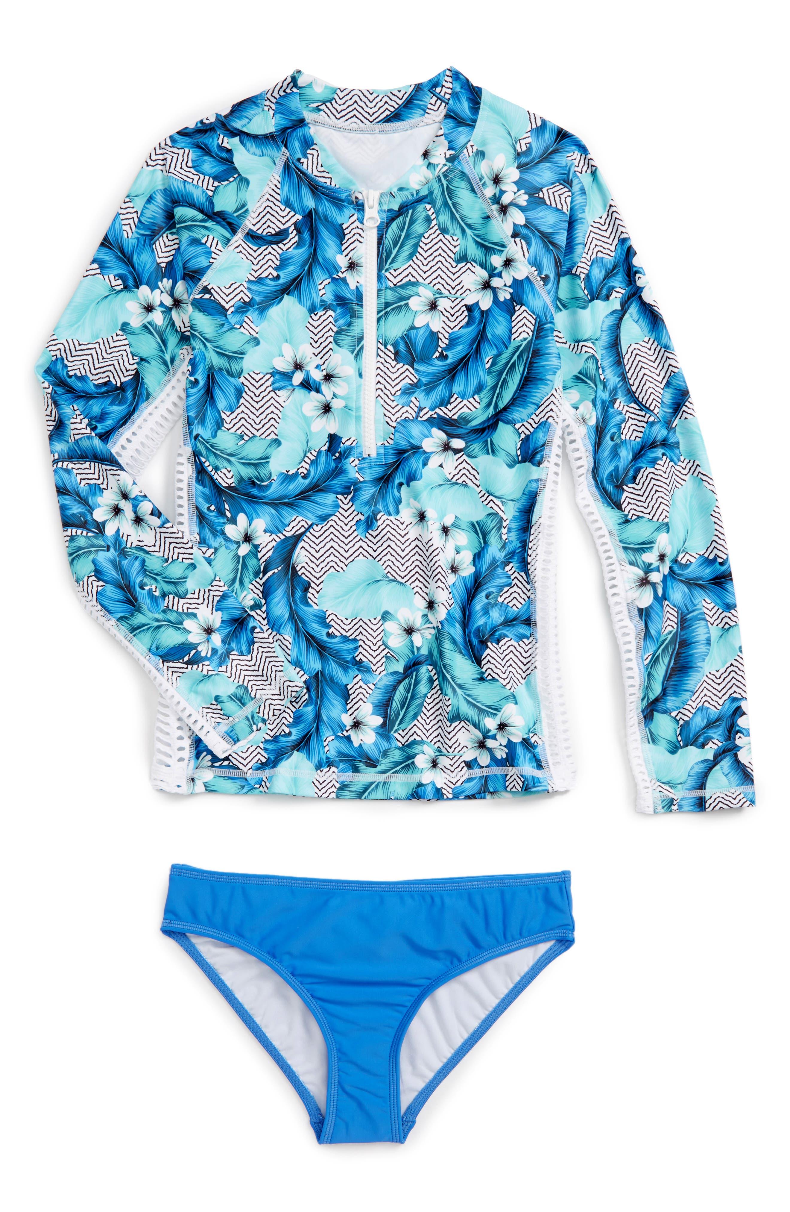 Seafolly Jungle Geo Two-Piece Rashguard Swimsuit (Big Girls)