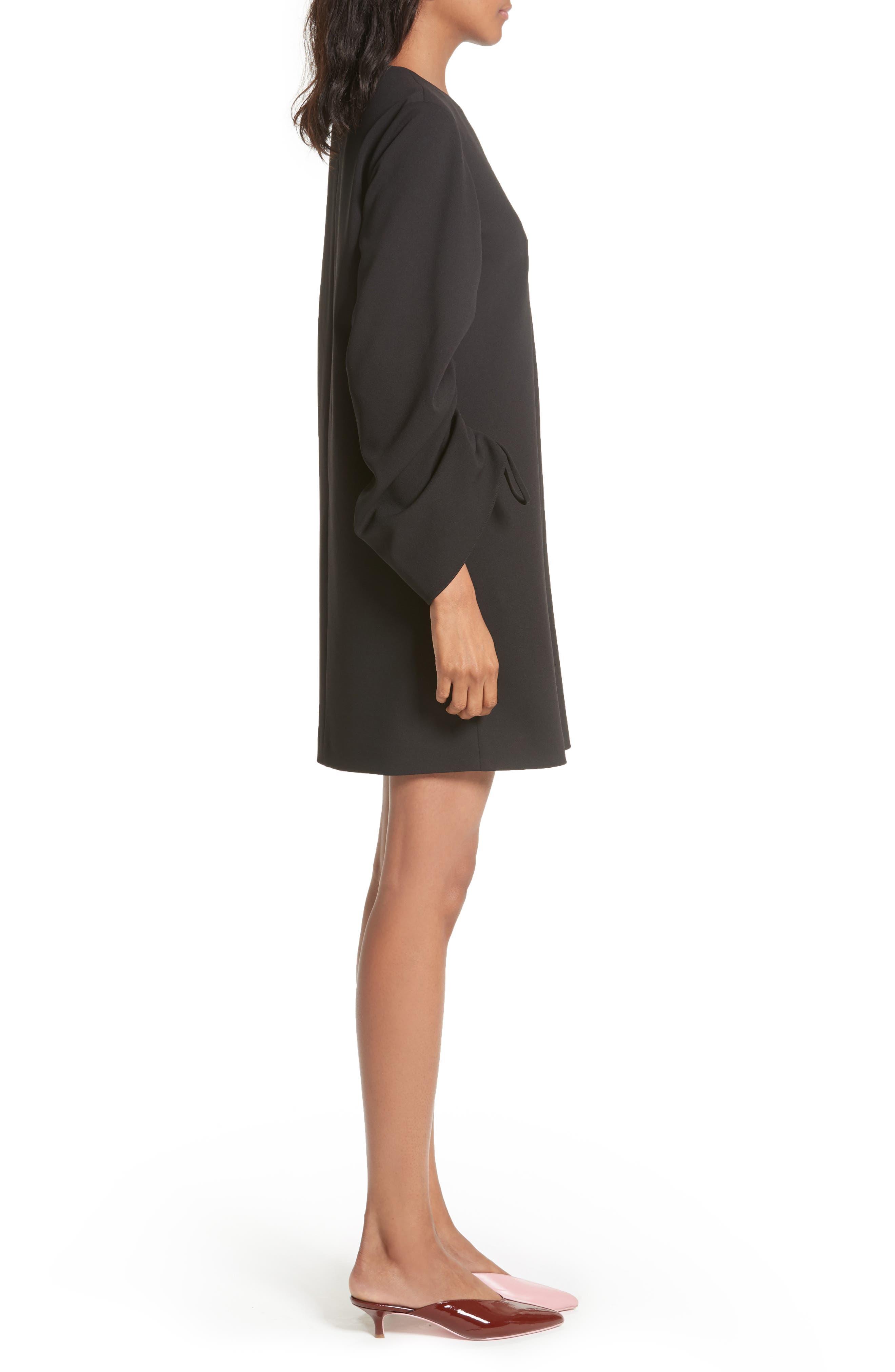 Crepe Ruched Sleeve Shift Dress,                             Alternate thumbnail 3, color,                             Black