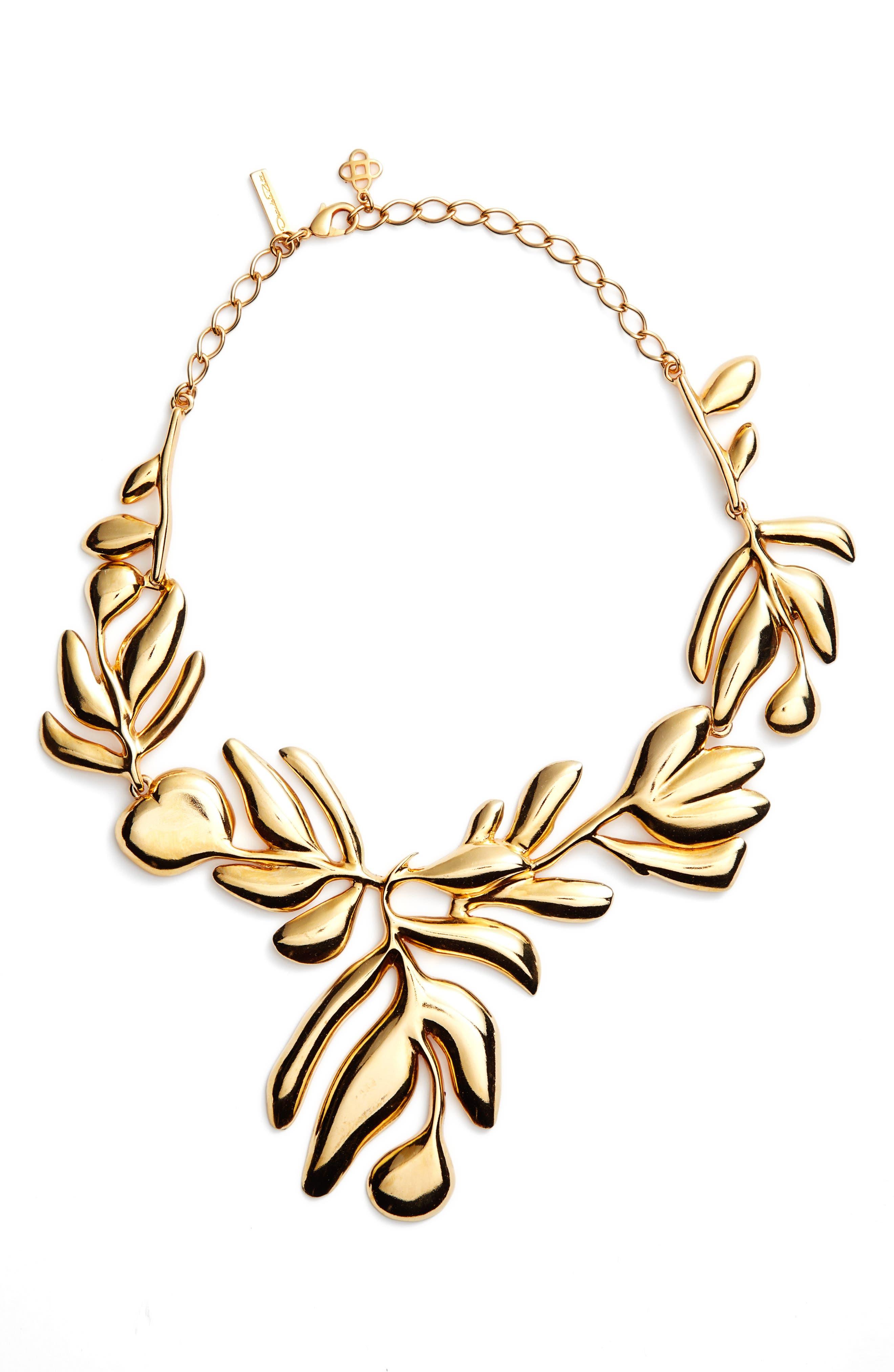 Graphic Botanic Collar Necklace,                             Main thumbnail 1, color,                             Gold