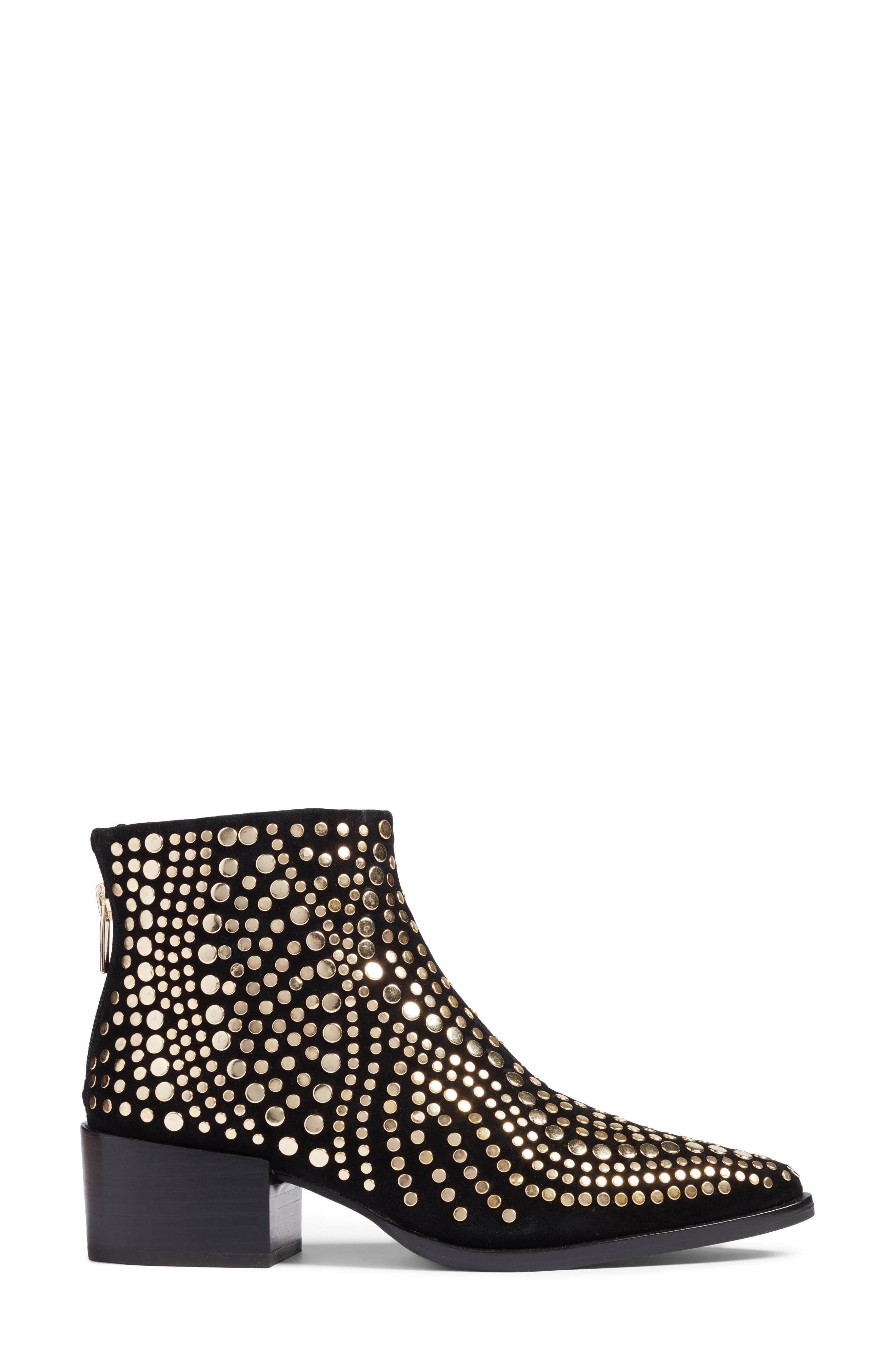 Edenny Studded Pointy Toe Bootie,                             Alternate thumbnail 4, color,                             Black Suede