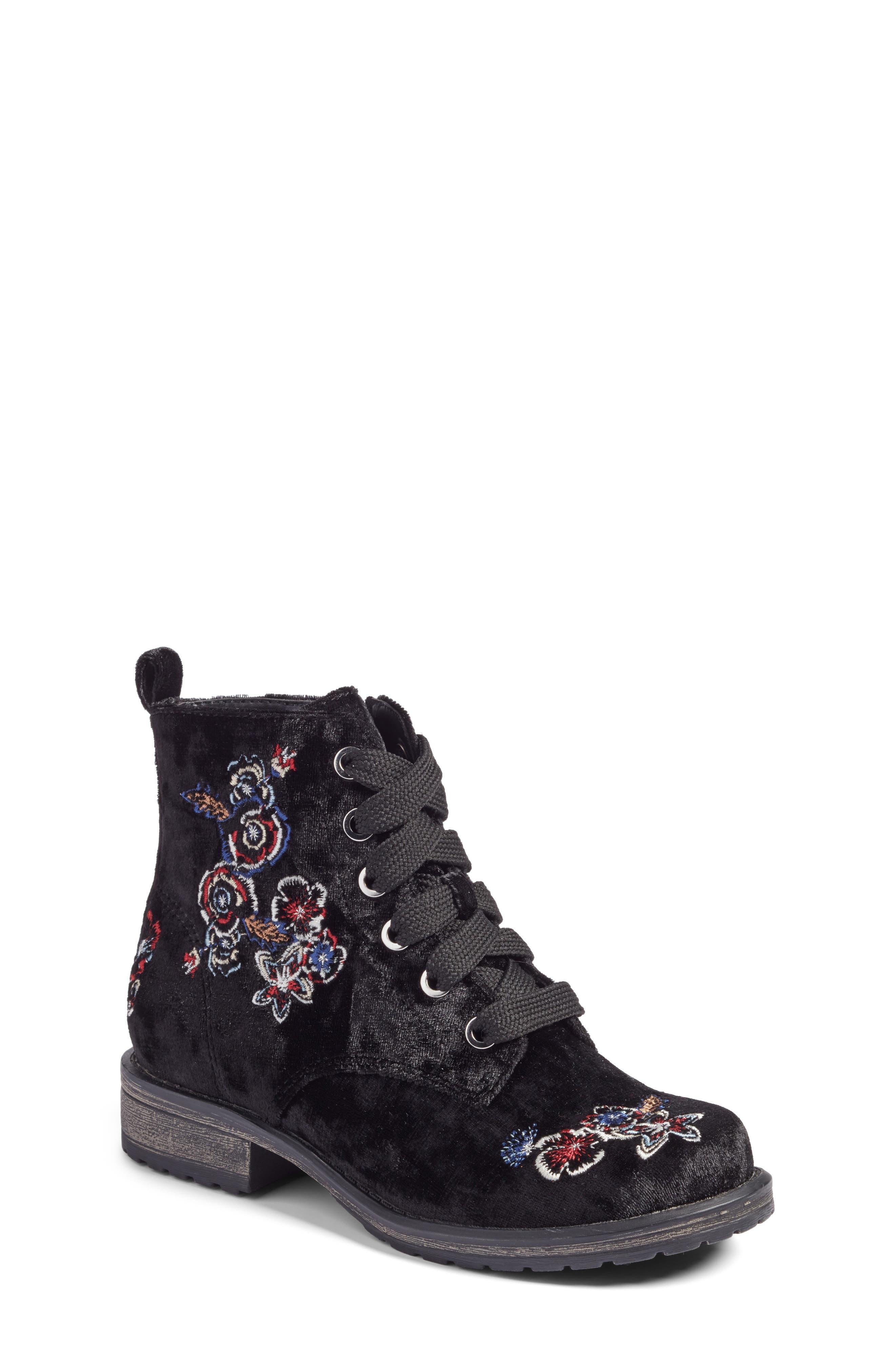 Lilla Combat Boot,                         Main,                         color, Black Multi Velvet