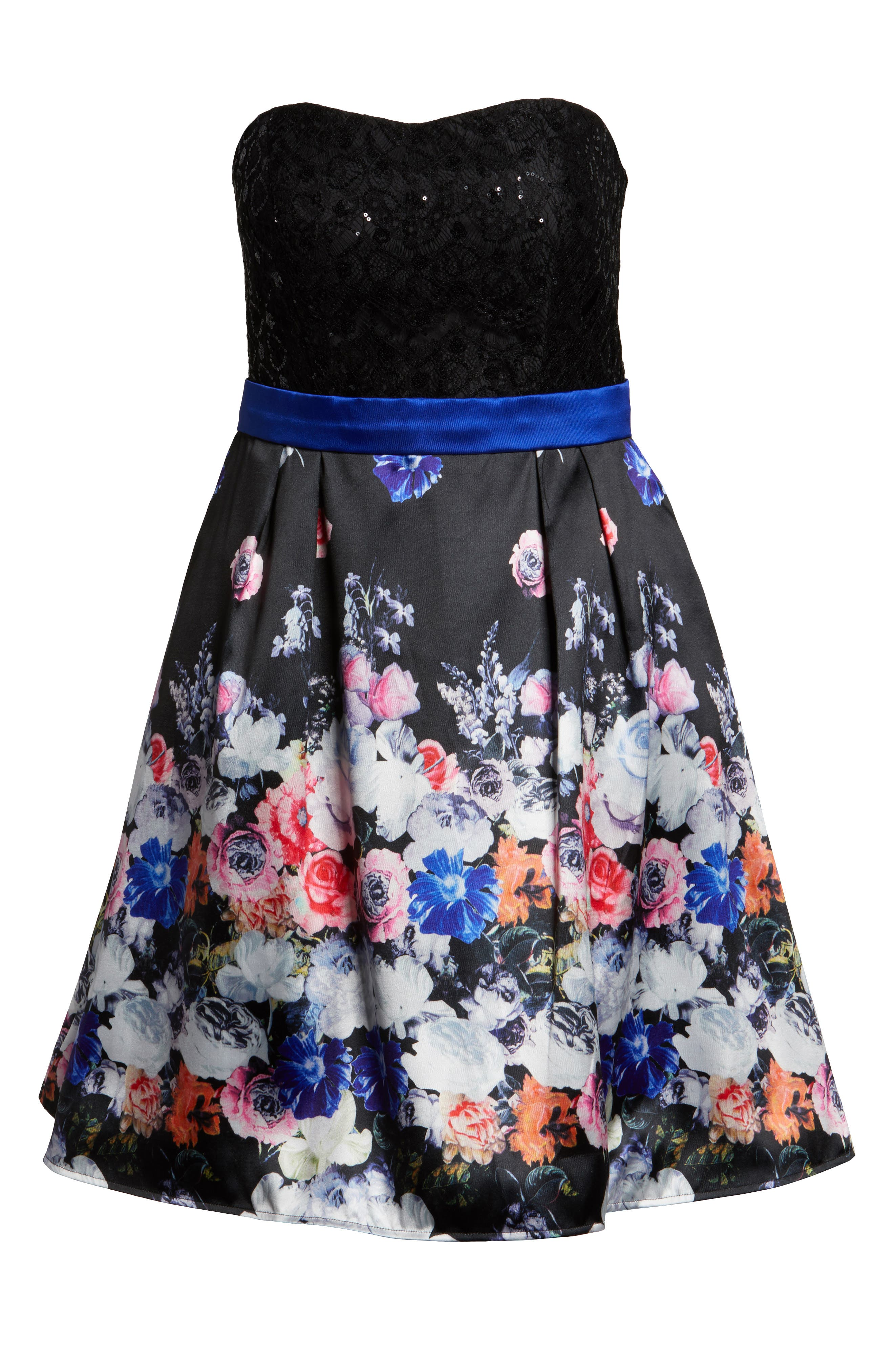 Floral Print Strapless Fit & Flare Dress,                             Alternate thumbnail 6, color,                             Black/ Multi