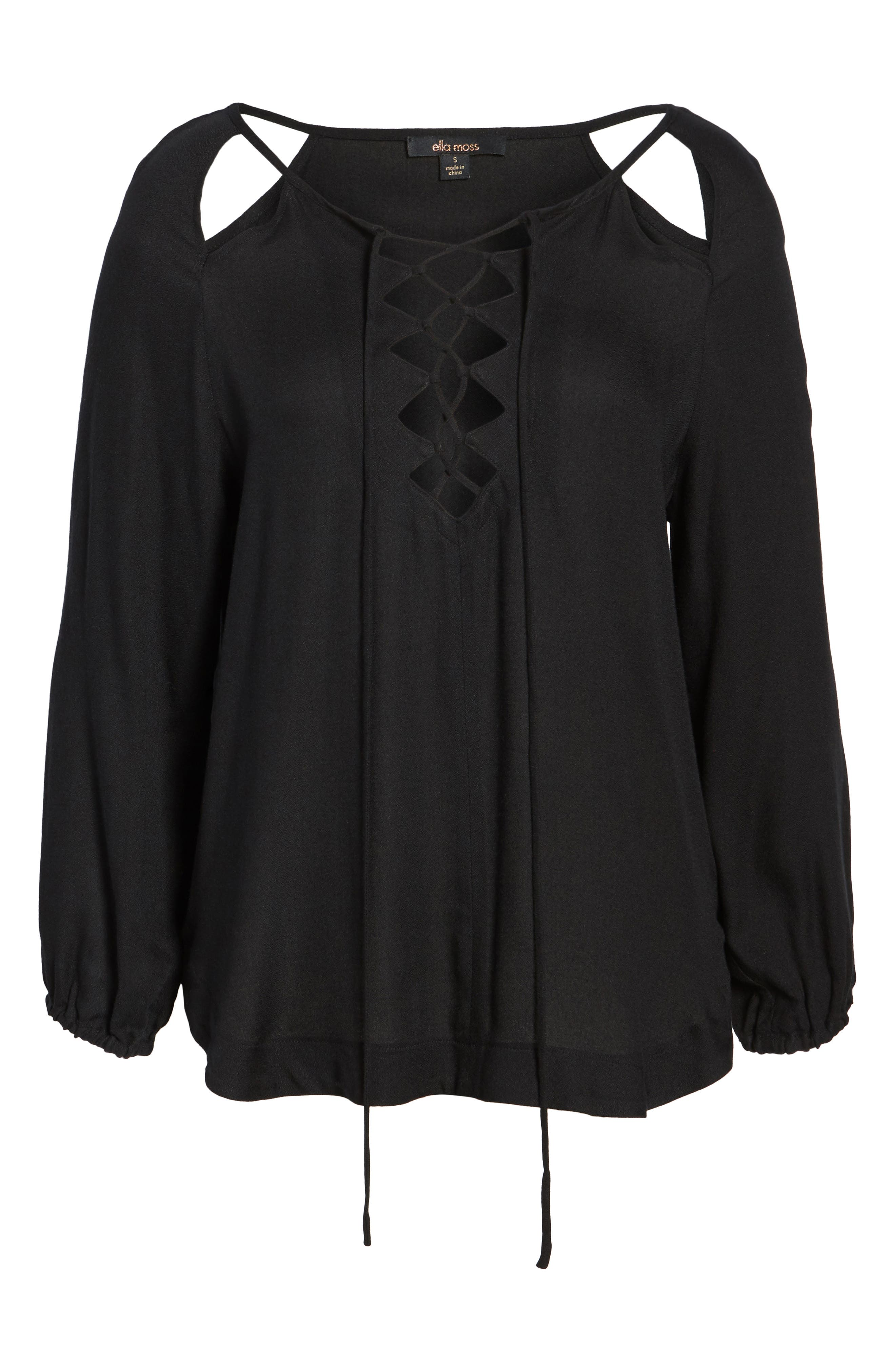 Alternate Image 6  - Ella Moss Stella Cutout Lace-Up Blouse