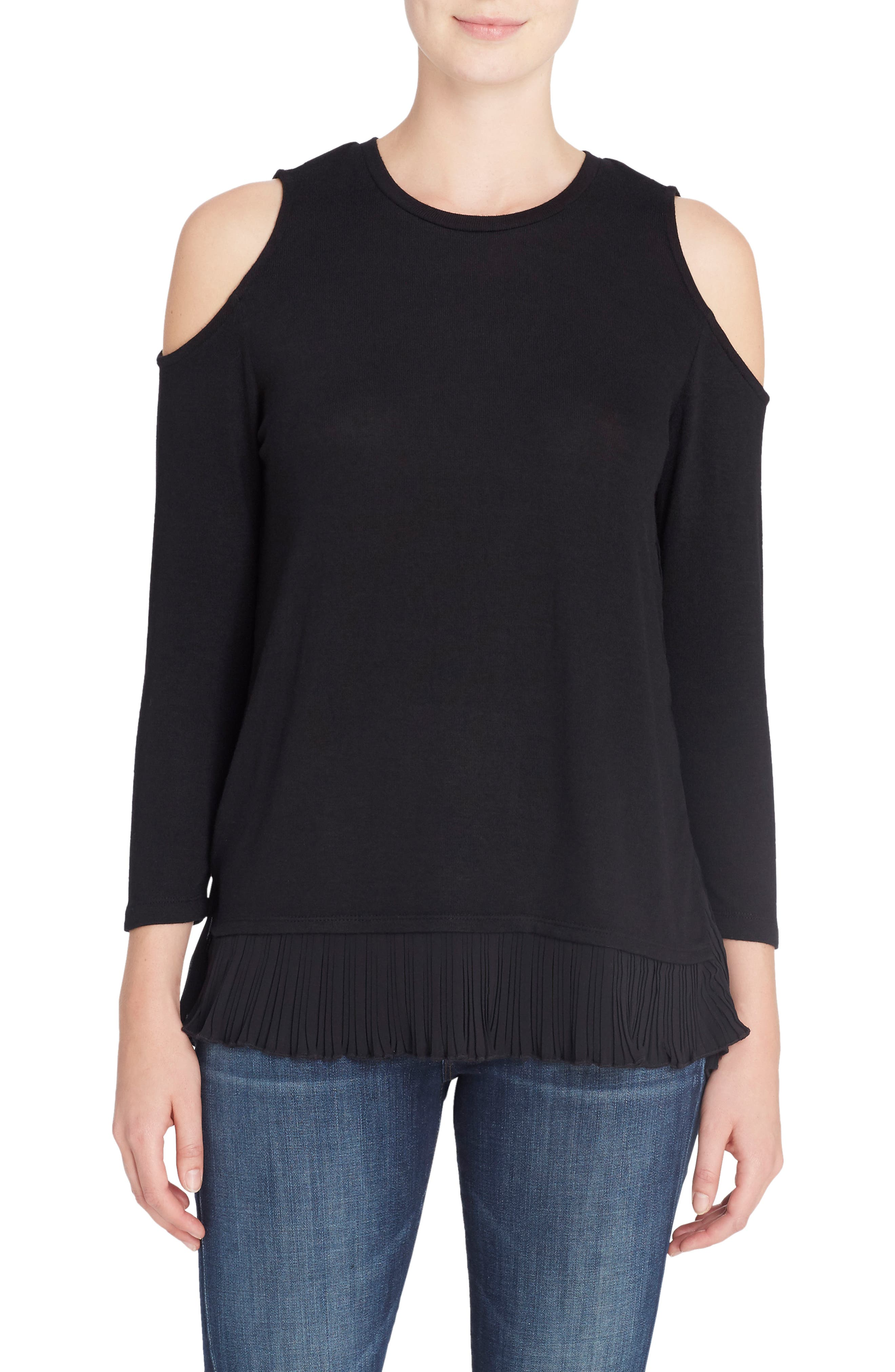 Linda Mixed Media Cold Shoulder Sweater,                             Main thumbnail 1, color,                             Black Beauty