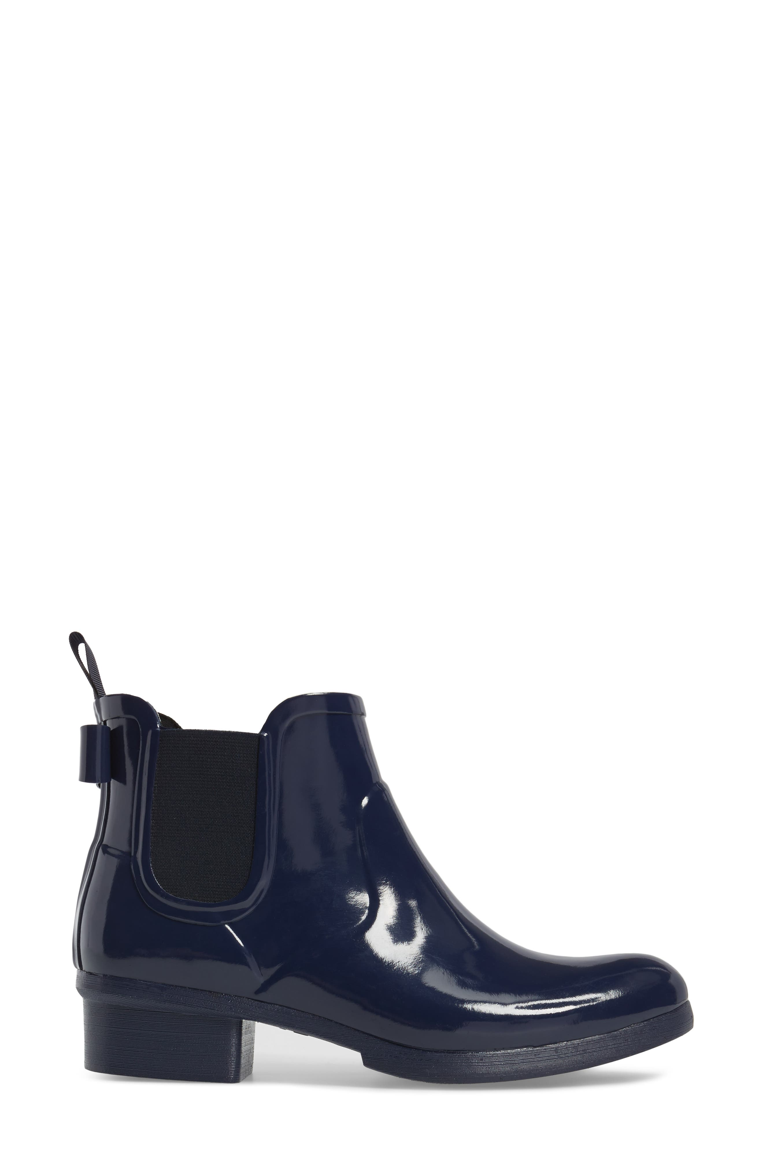 telly chelsea rain bootie,                             Alternate thumbnail 3, color,                             New Navy Shiny Rubber