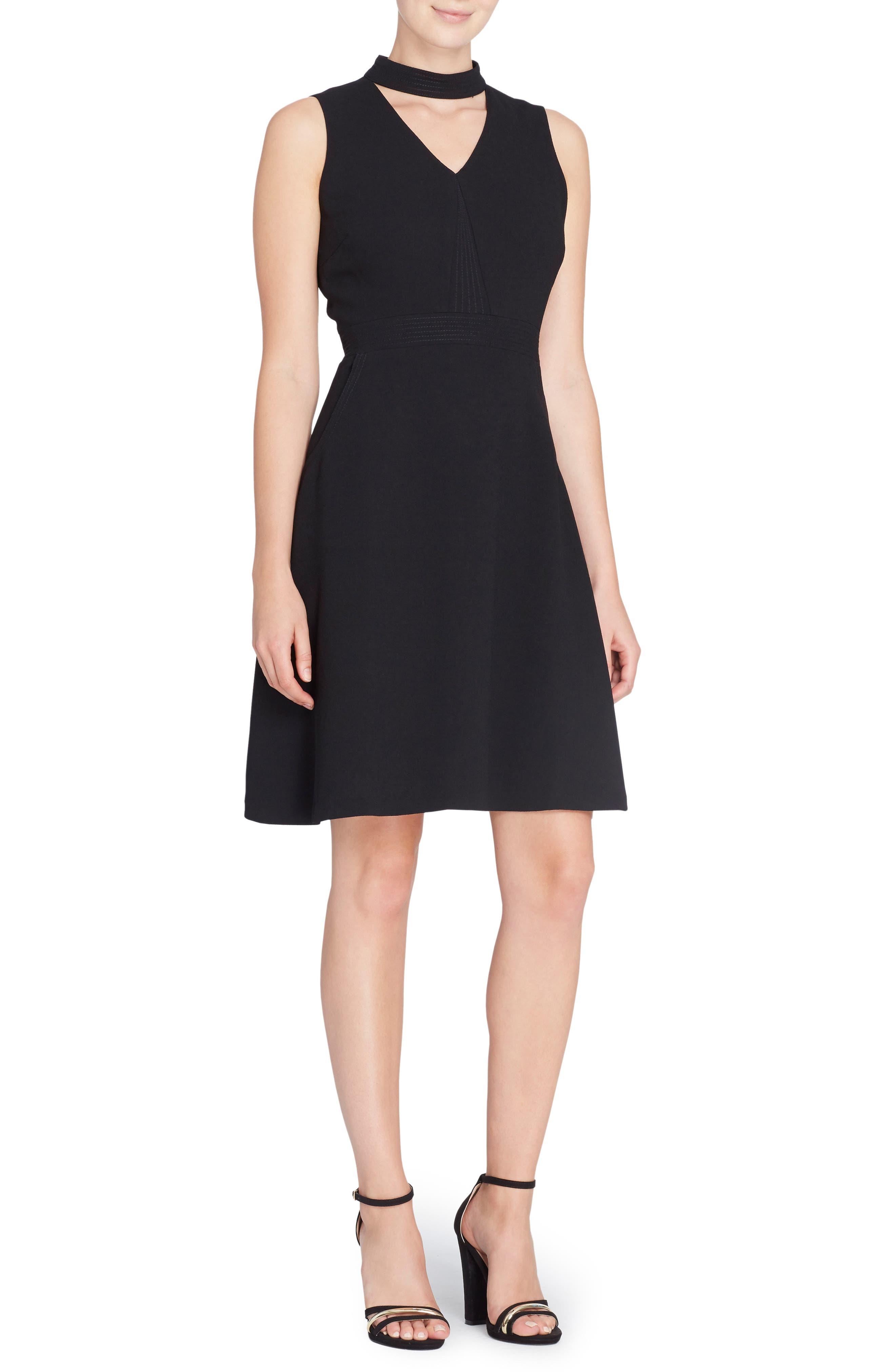 Wendy Choker Fit & Flare Dress,                         Main,                         color, Black Beauty